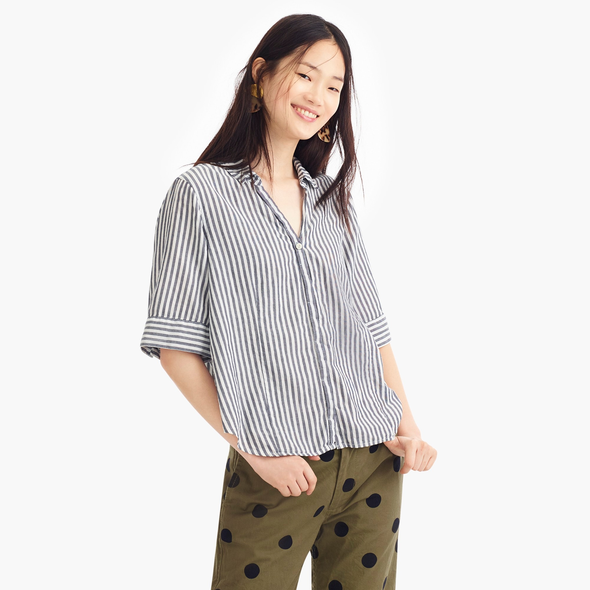 striped short-sleeve button-up shirt : women button-ups