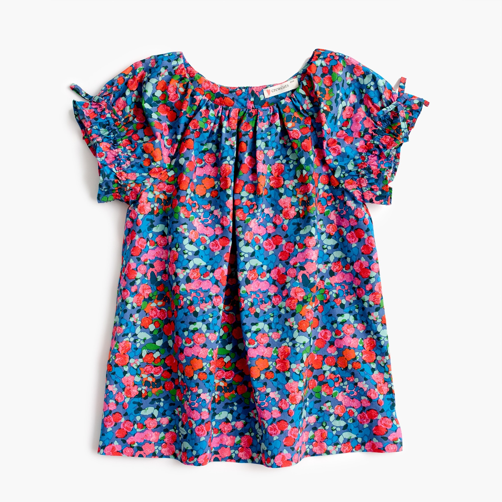 girls' gathered-sleeve top in garden floral : girl novelty shirts