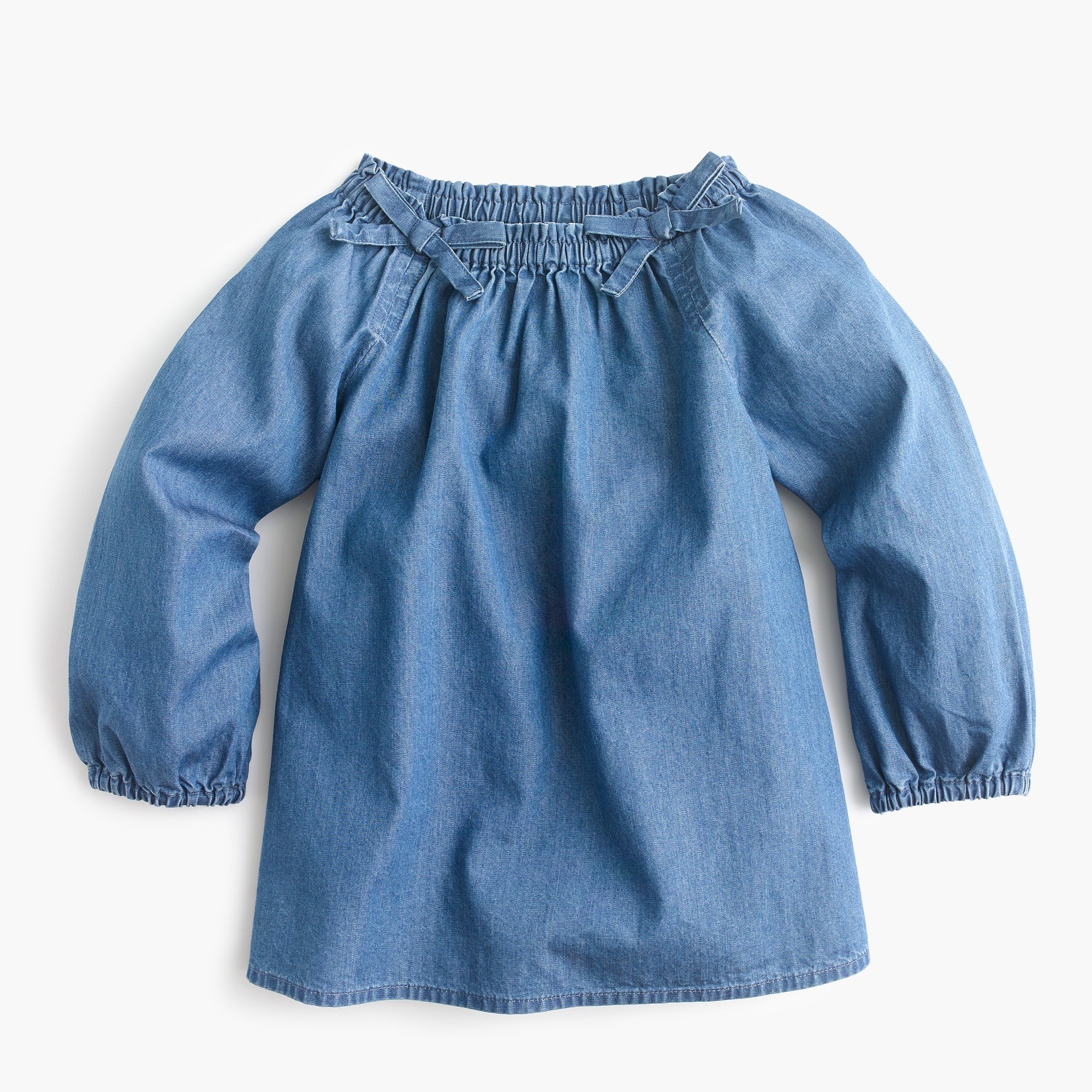 girls' smocked-neck top in chambray : girl shirts