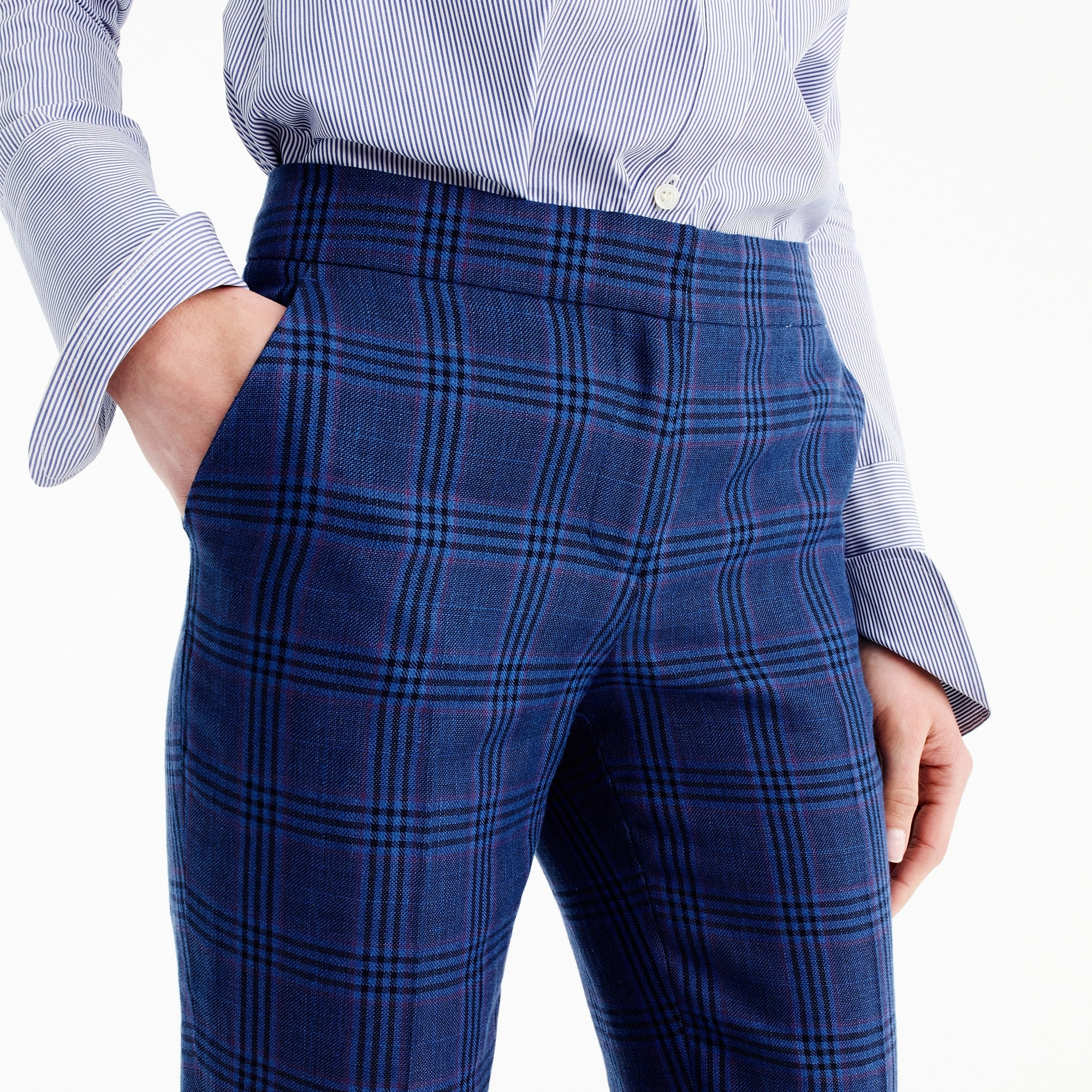 Tall Paley pant linen wool plaid