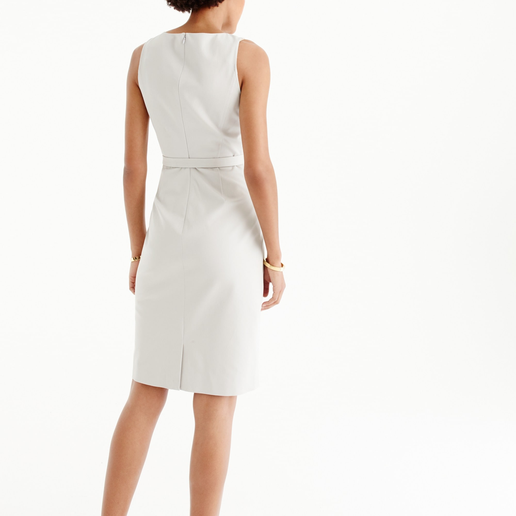 Image 3 for Petite belted sheath dress in two-way stretch cotton