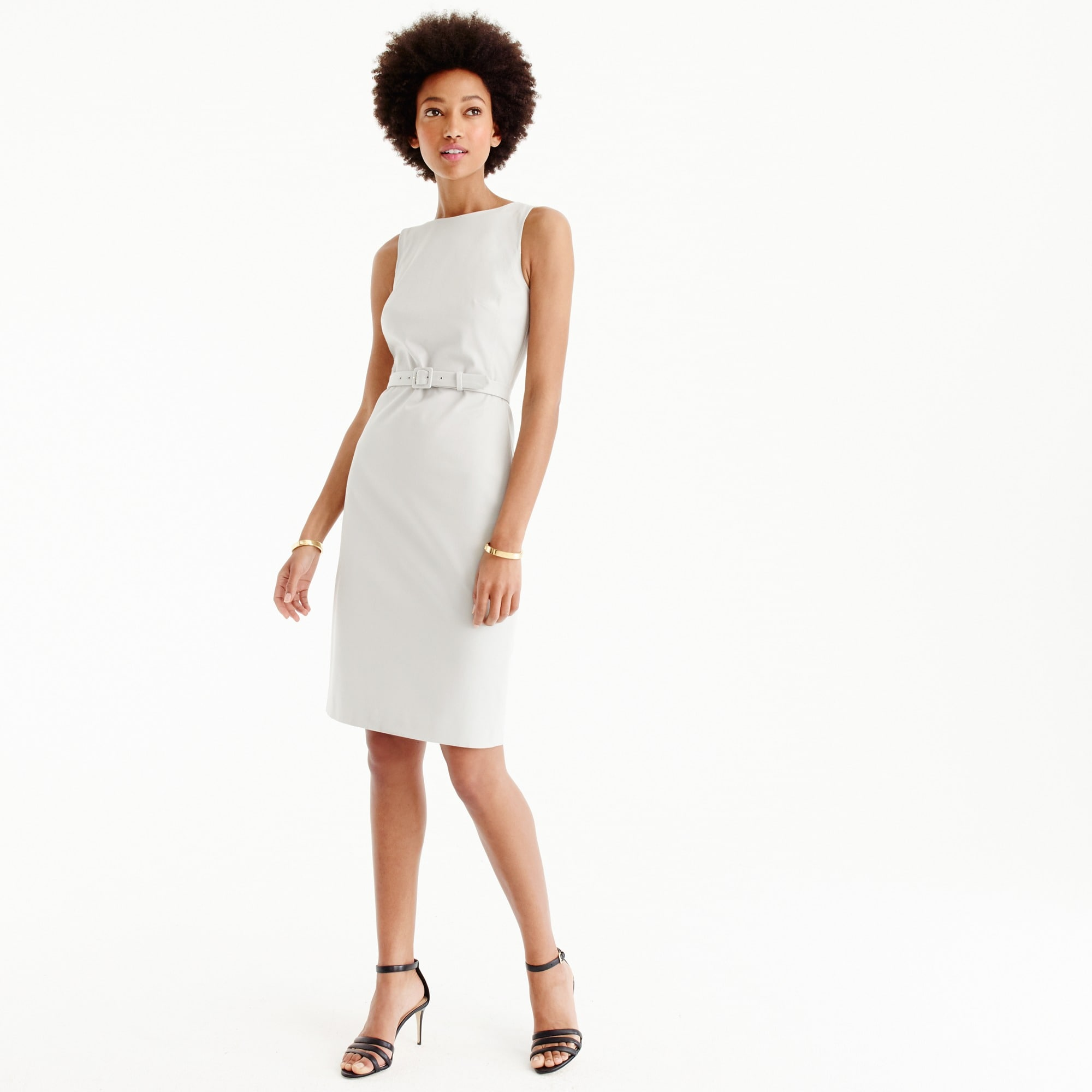 Tall belted sheath dress in two-way stretch cotton