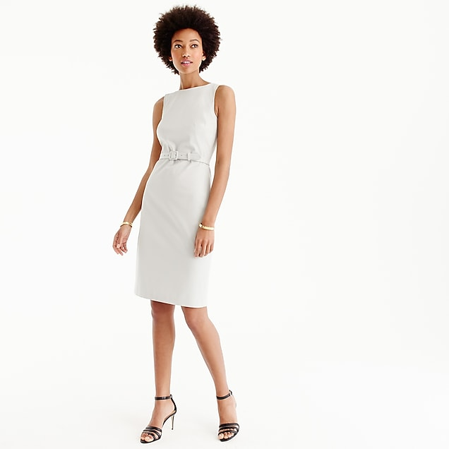 Petite belted sheath dress in two-way stretch cotton