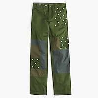 Petite embroidered boyfriend chino pant with patches