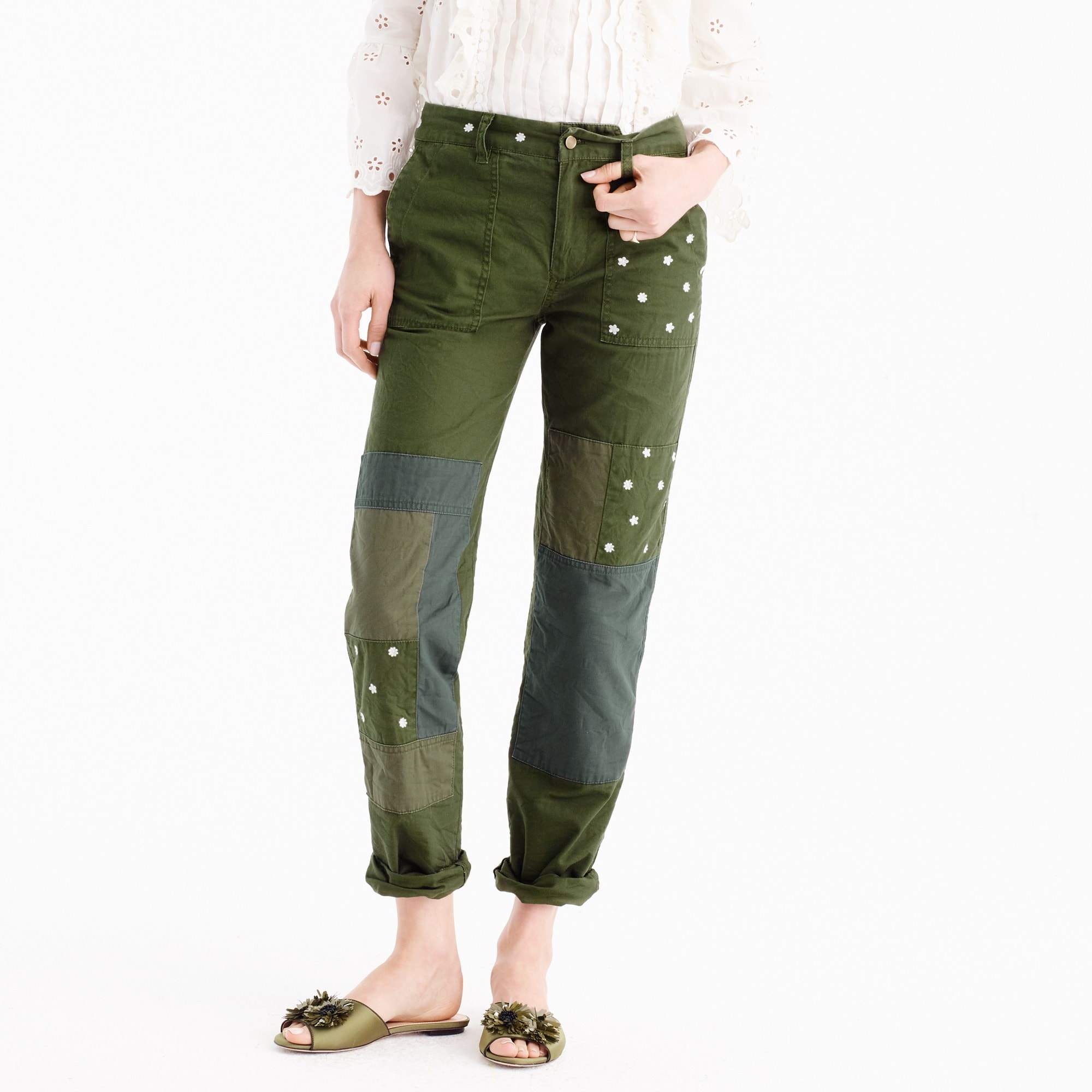 Tall embroidered boyfriend chino pant with patches