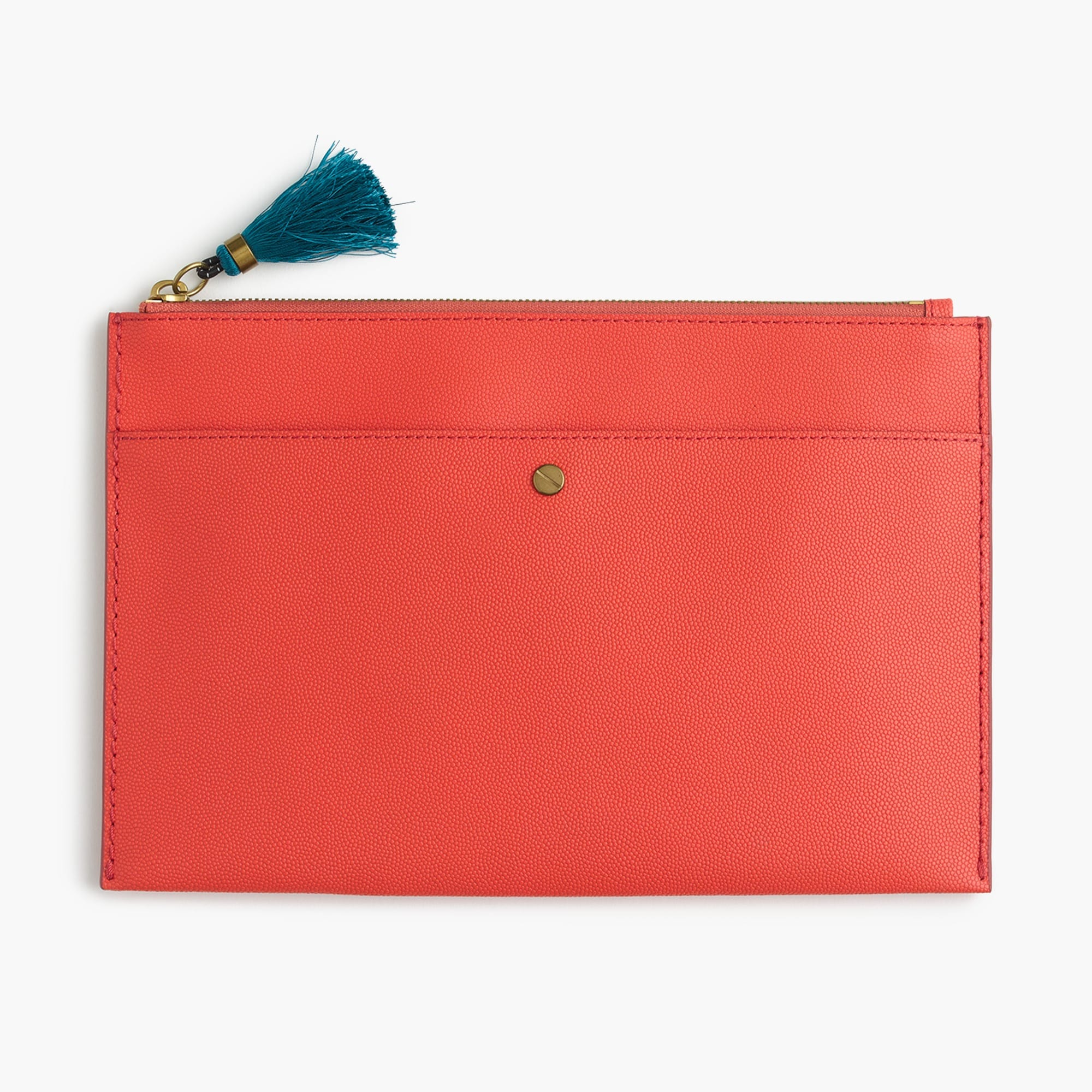 Large pouch in Italian leather