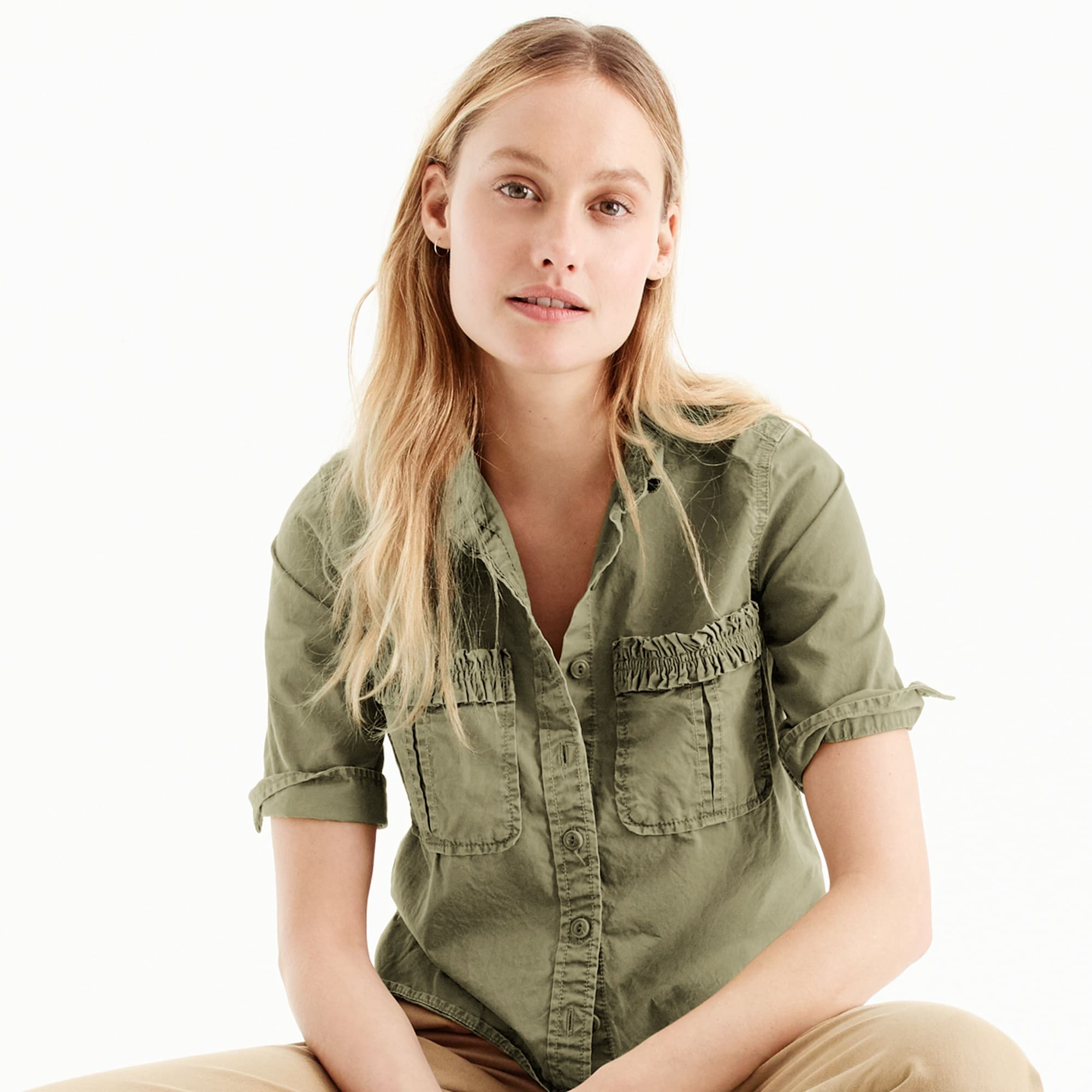 Petite boy-meets-girl utility shirt