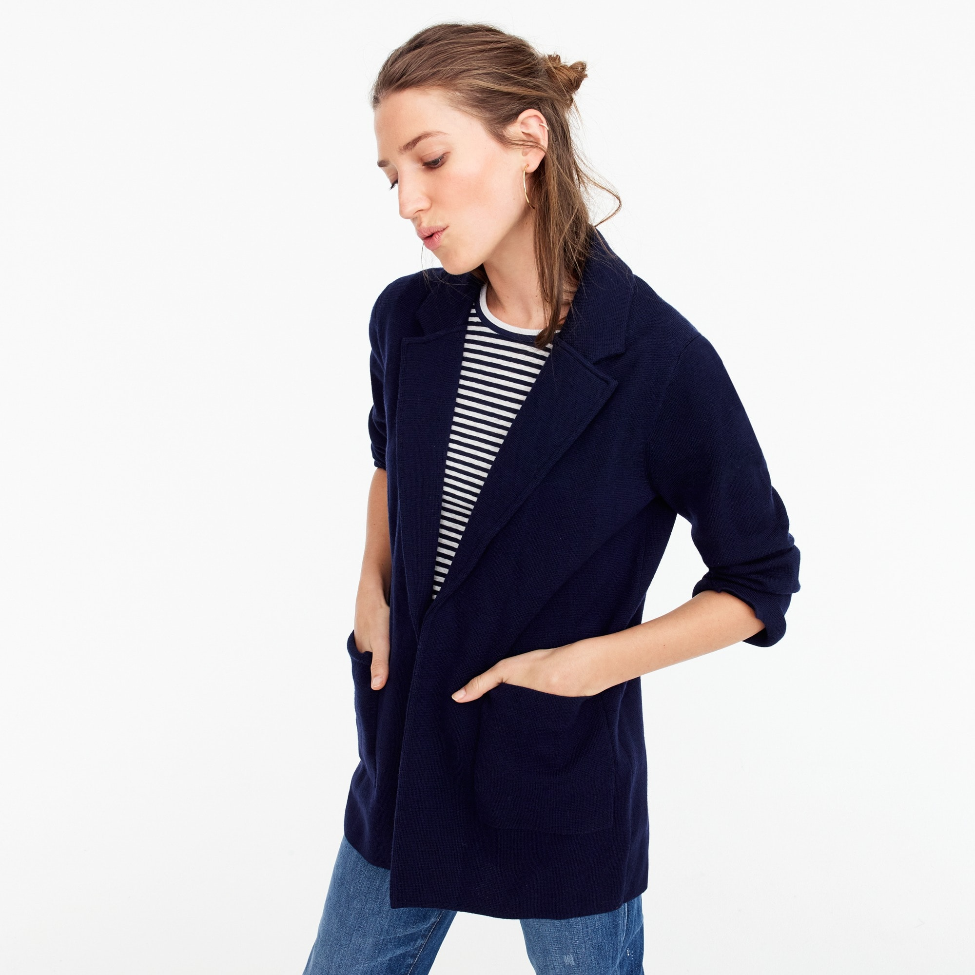 womens Open-front sweater-blazer