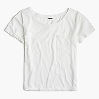 Relaxed boatneck T-shirt in slub cotton