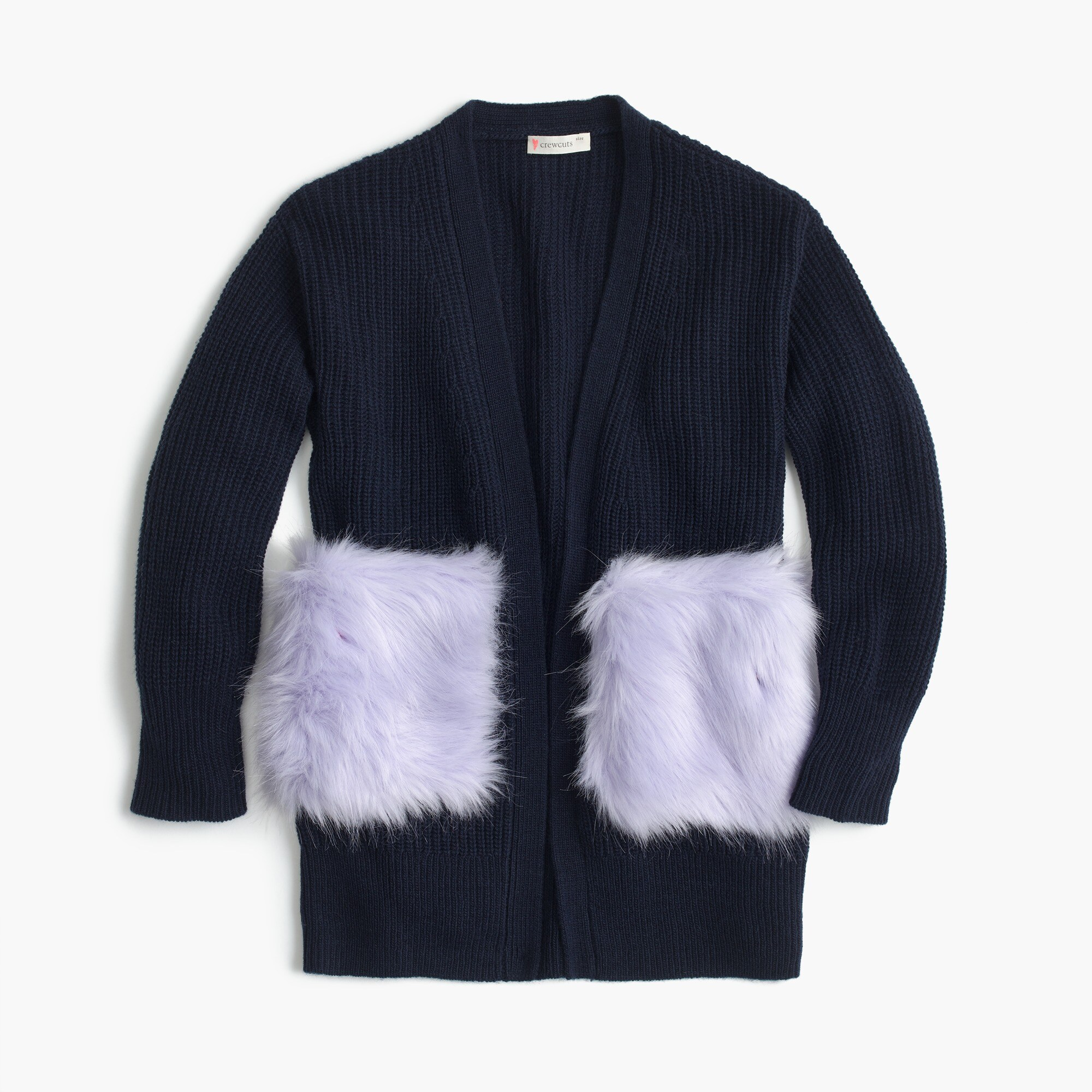 girls' fur-pocket cardigan sweater - girls' sweaters
