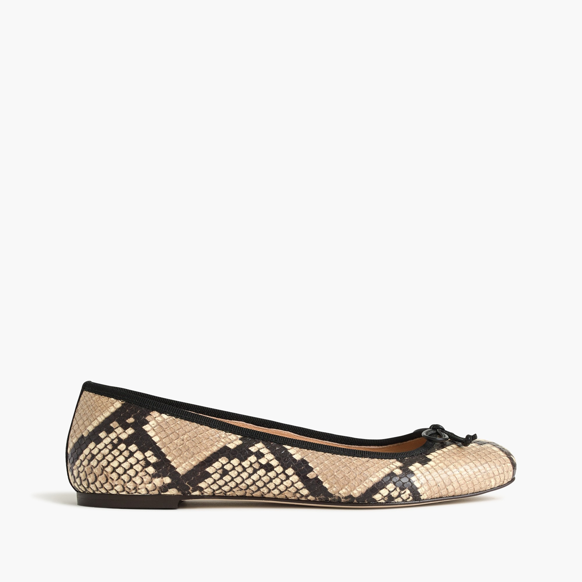 lily ballet flats in snakeskin-printed leather : women flats
