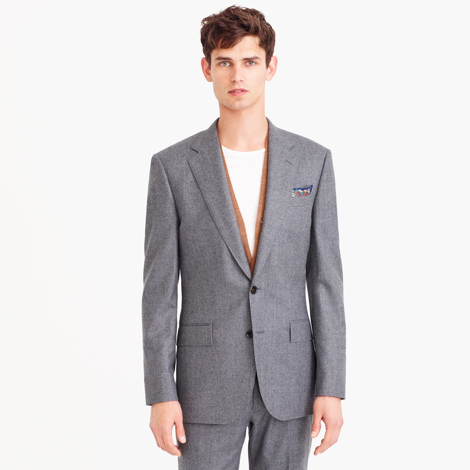 Ludlow slim wide-lapel suit jacket in Italian wool flannel
