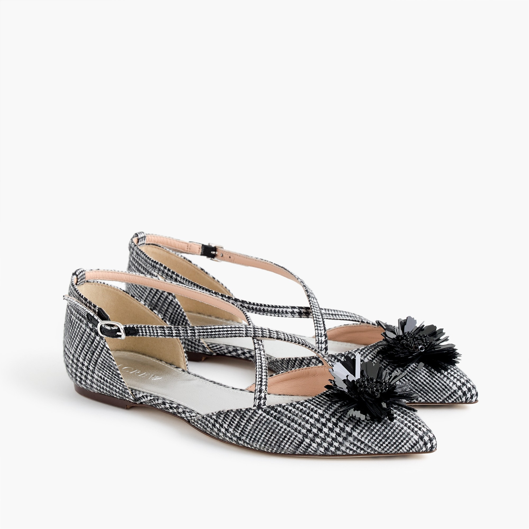 Sadie cross-strap flats in plaid