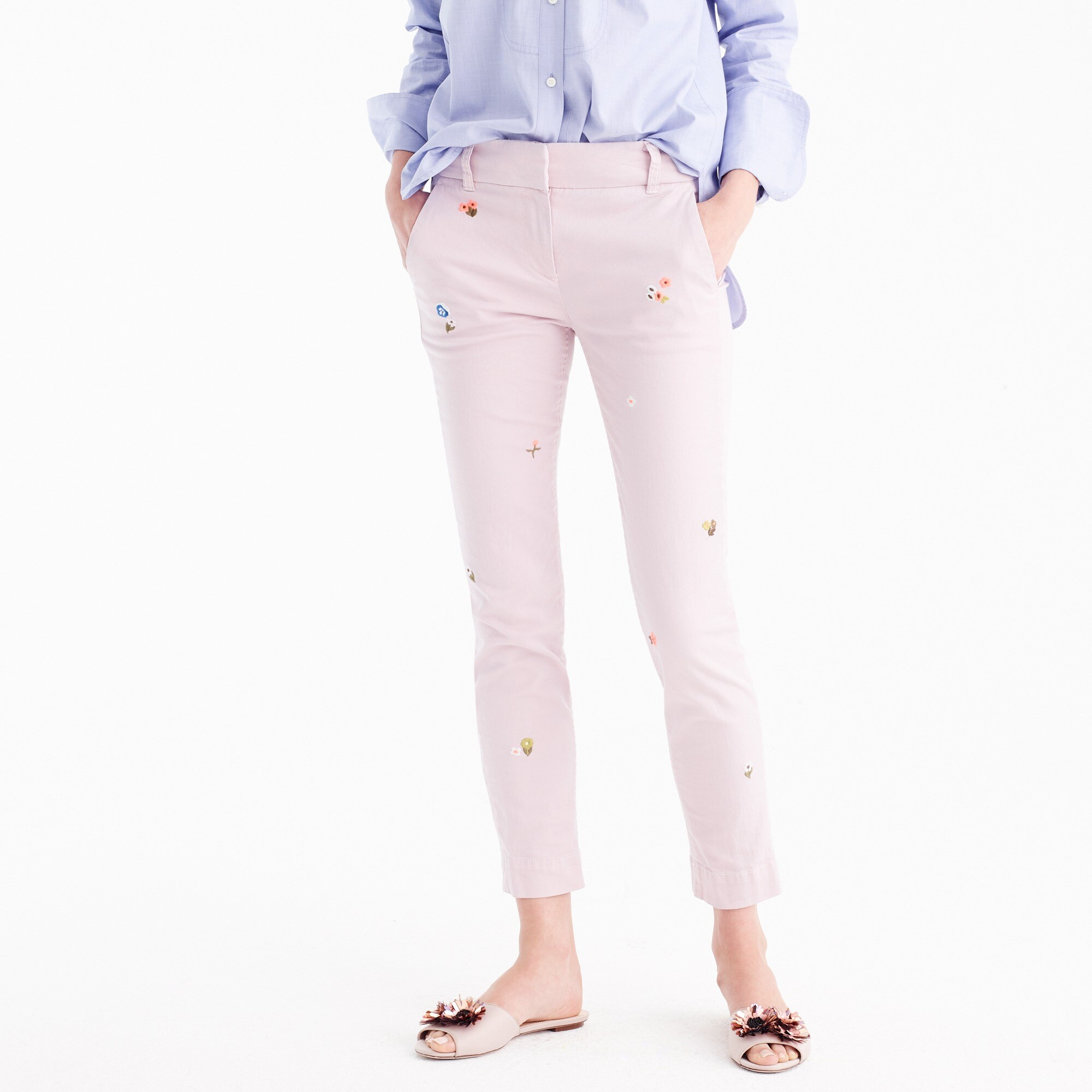 Cropped pant in embroidered chino