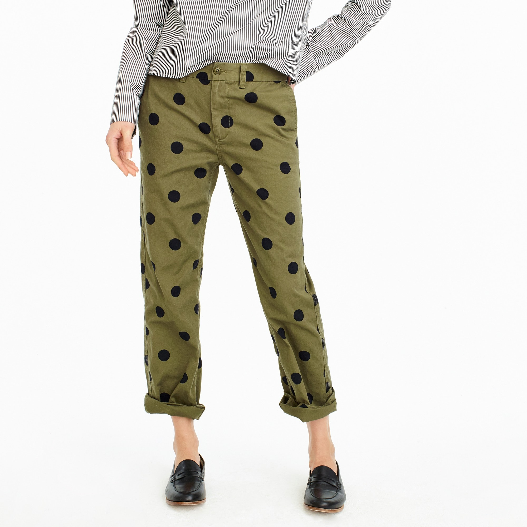womens Tall boyfriend chino pant in polka dot