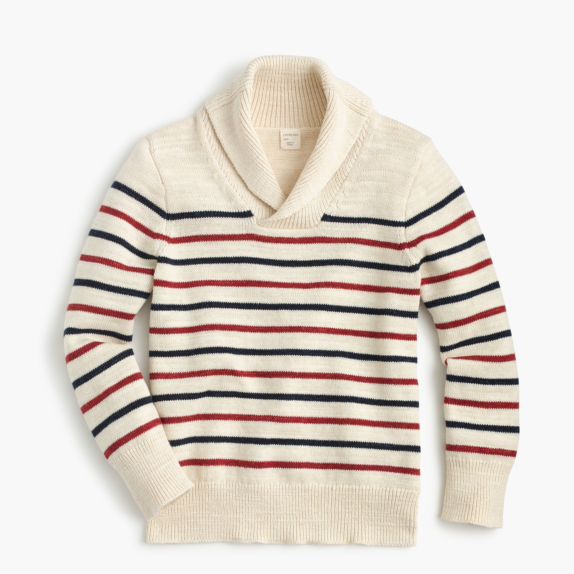 Boys' shawl-collar cotton striped sweater