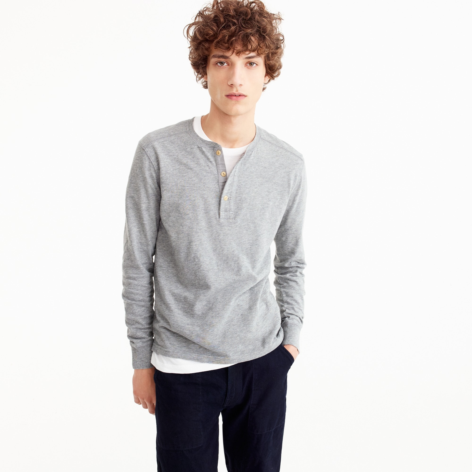 Tall slub cotton garment-dyed henley
