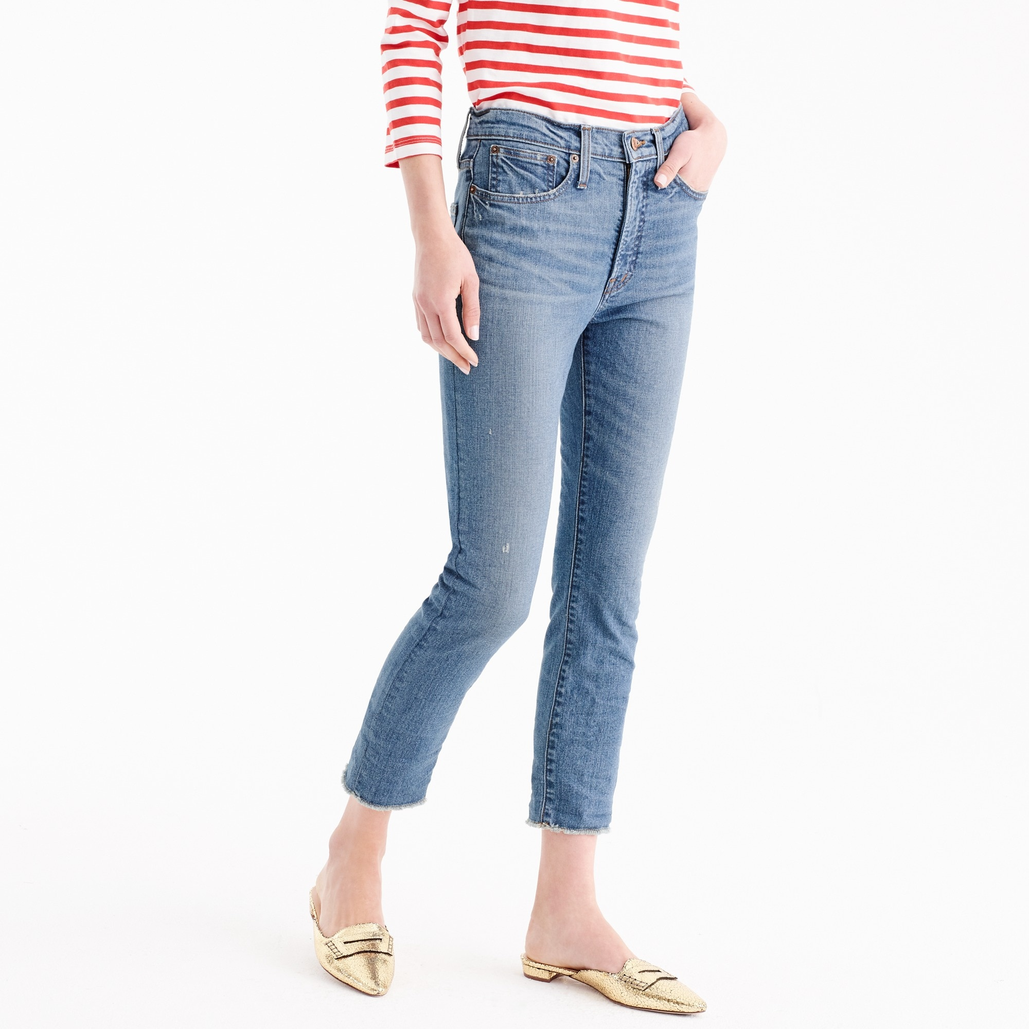 vintage crop jean in landers wash : women denim
