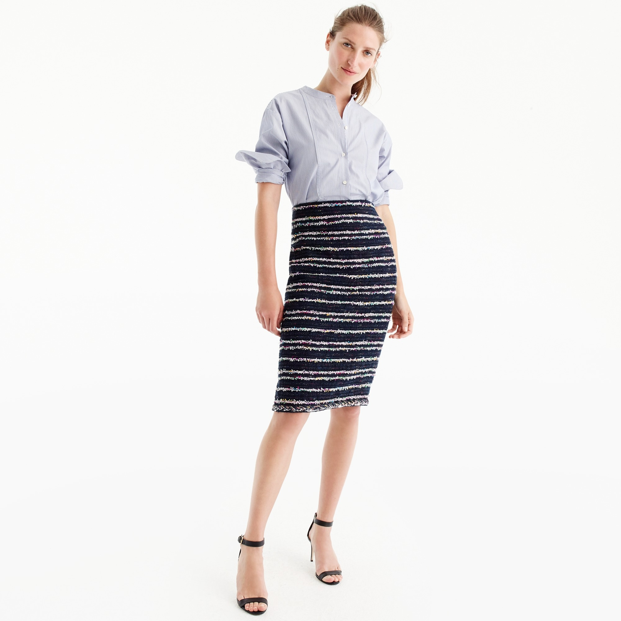 Pencil skirt in navy party tweed