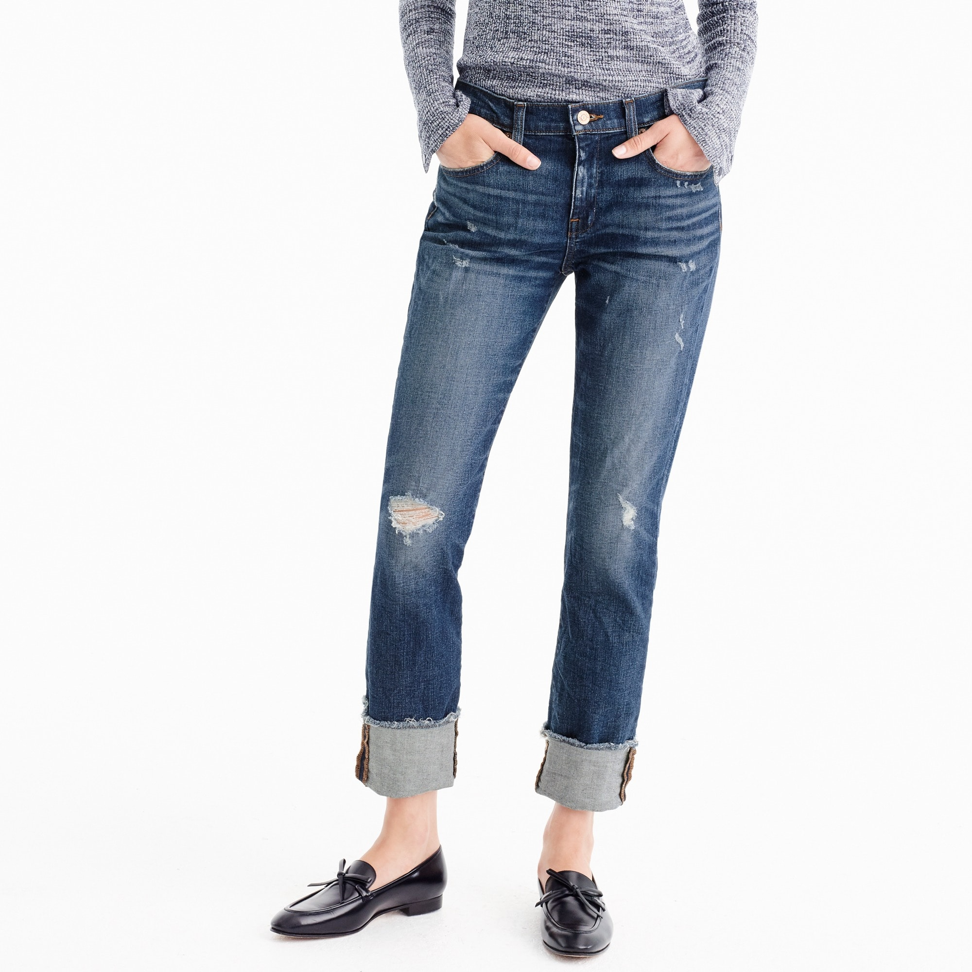 Petite slim boyfriend jean in Silverwood wash