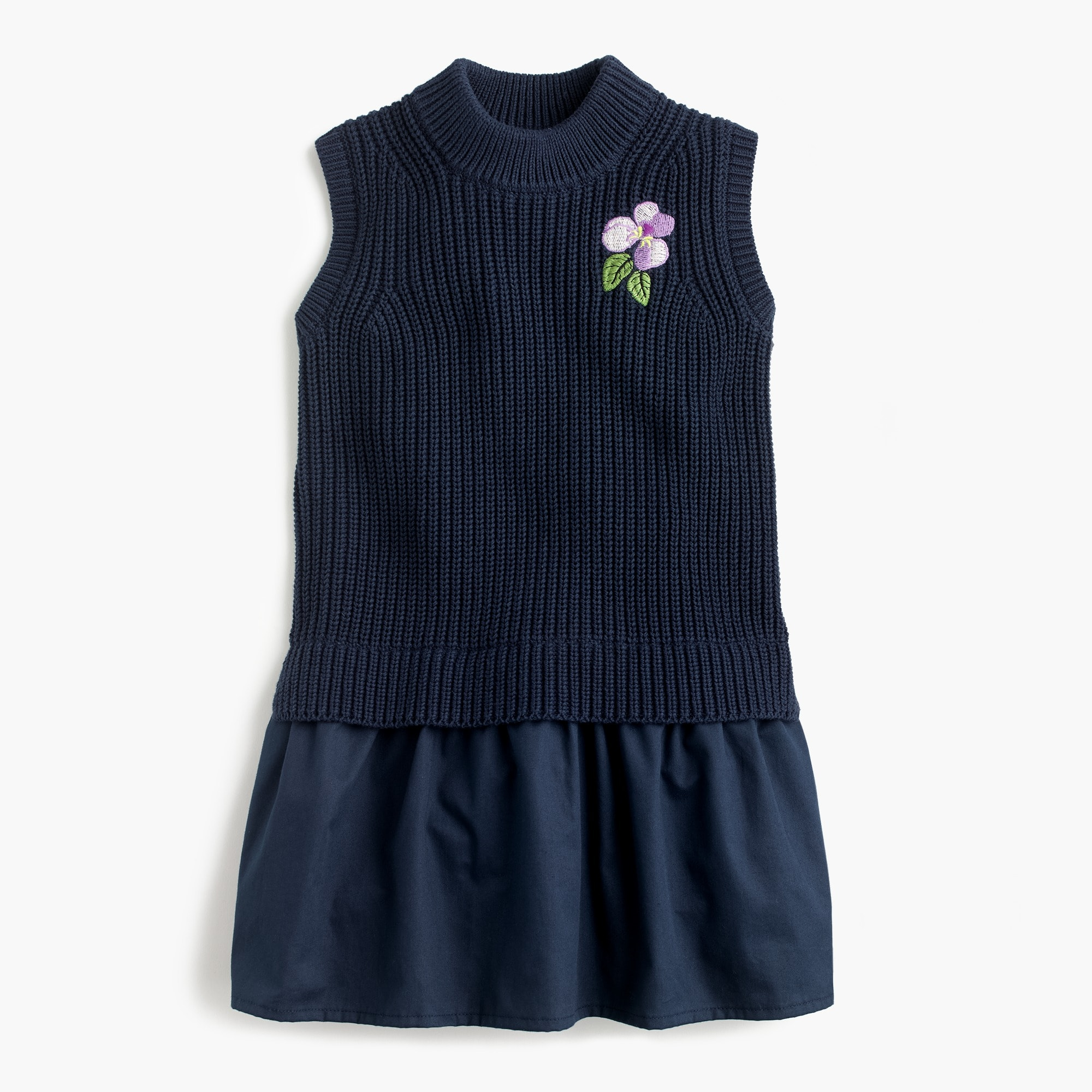 Girls' flower-embroidered sweater jumper