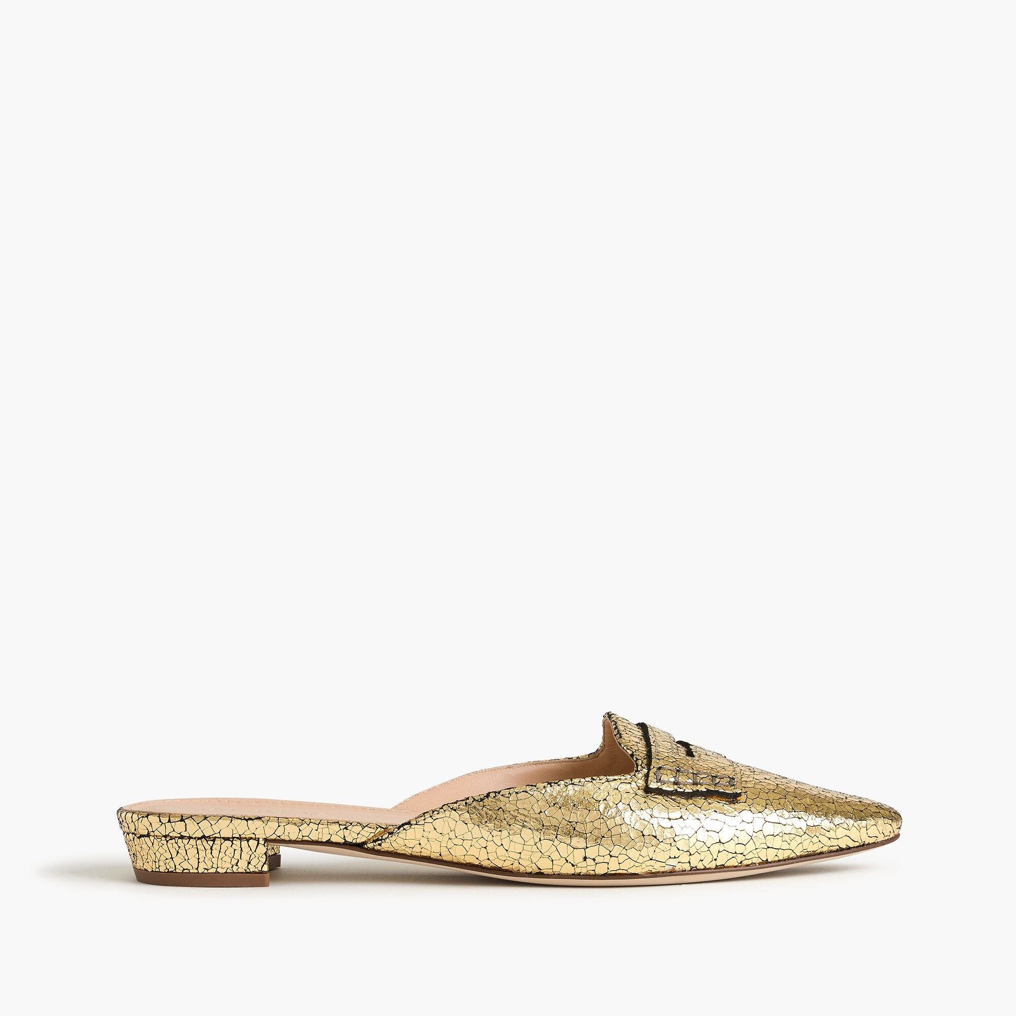 crackled metallic loafer mules : women flats
