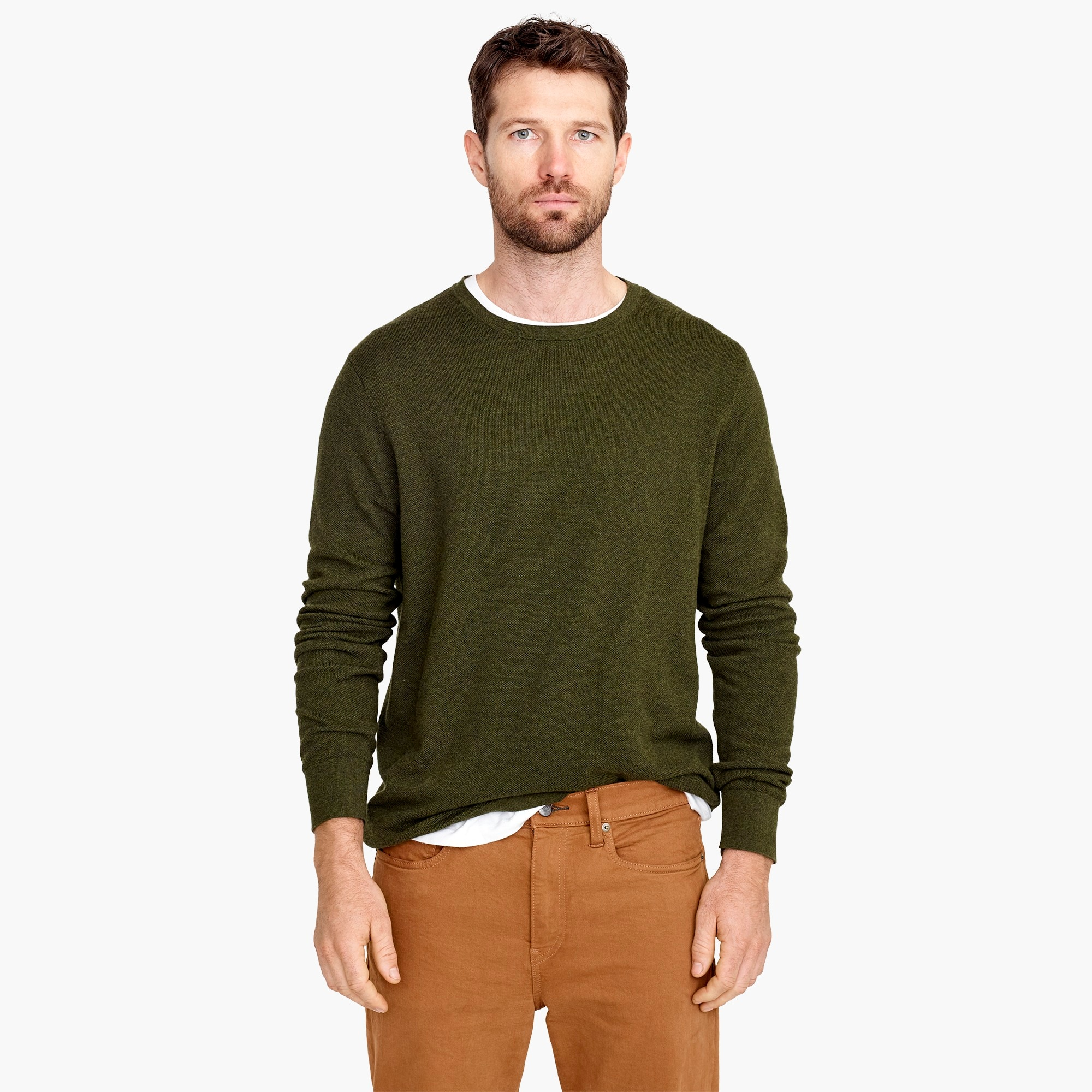 Cotton-cashmere piqué crewneck sweater men sweaters c