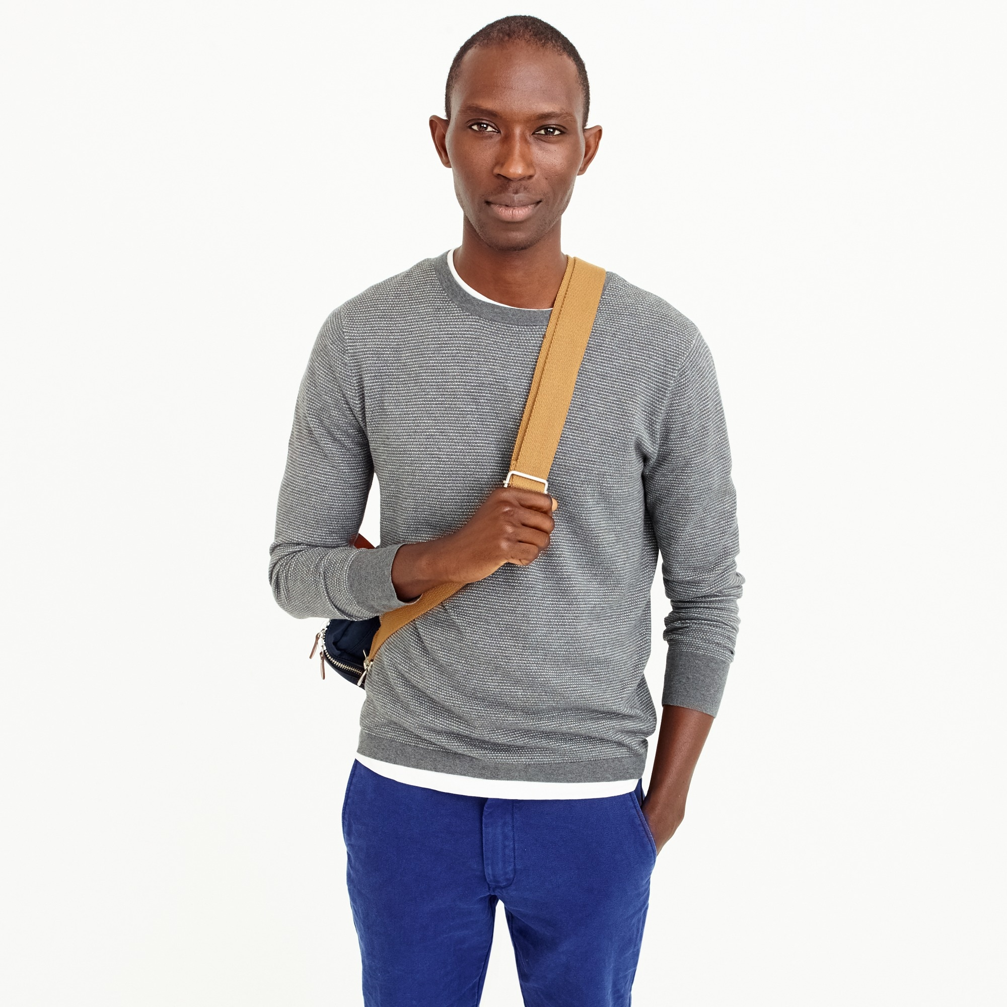 Cotton-cashmere piqué crewneck sweater in bird's-eye stitch
