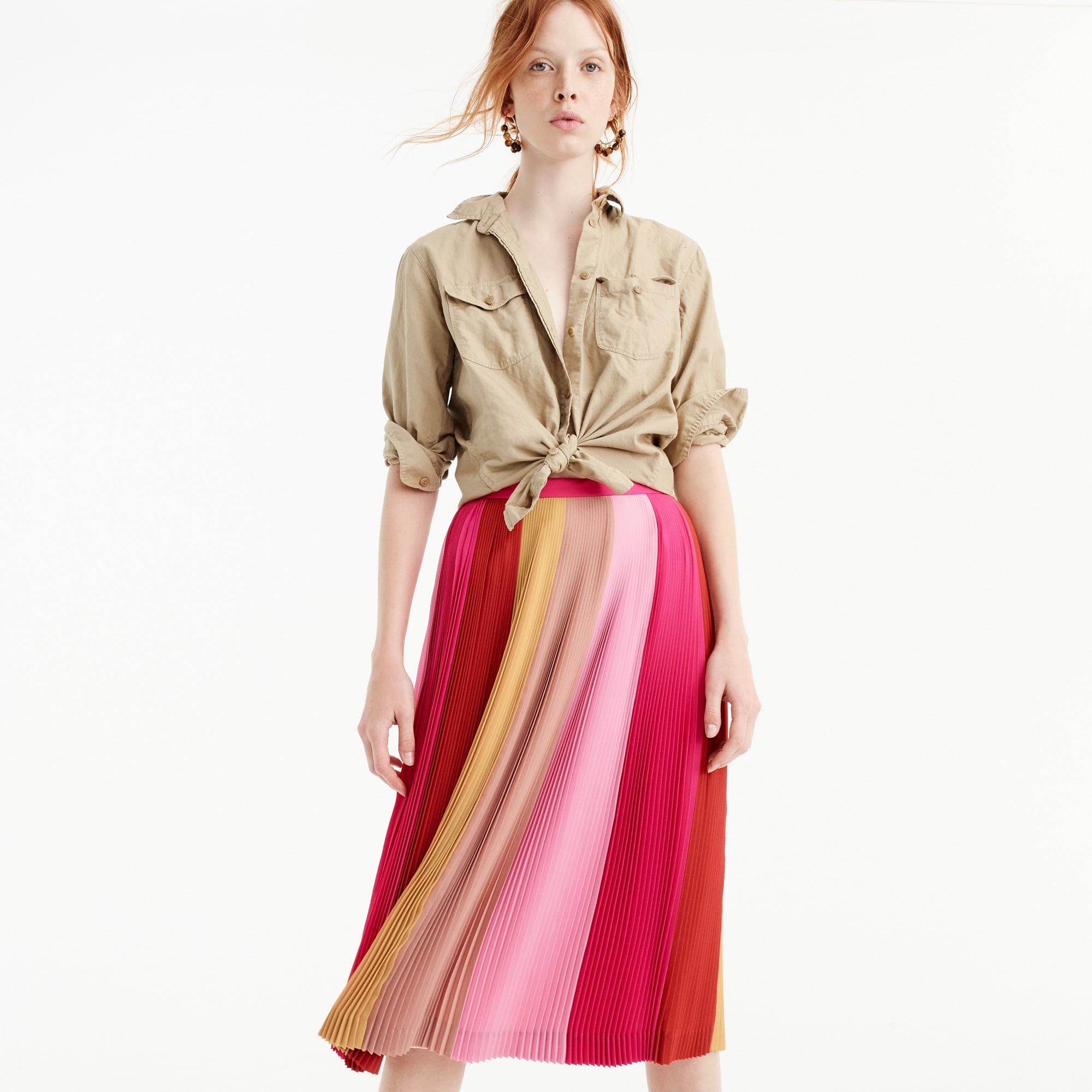 pleated ombré skirt : women a-line/midi