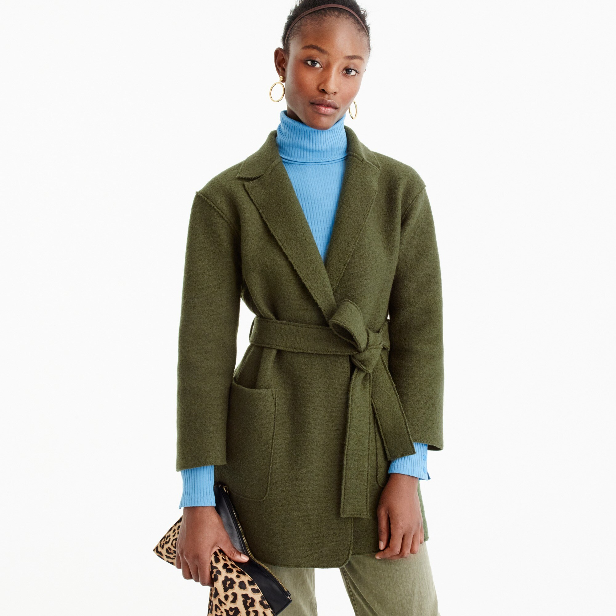 wrap coat in boiled wool : women coats & jackets