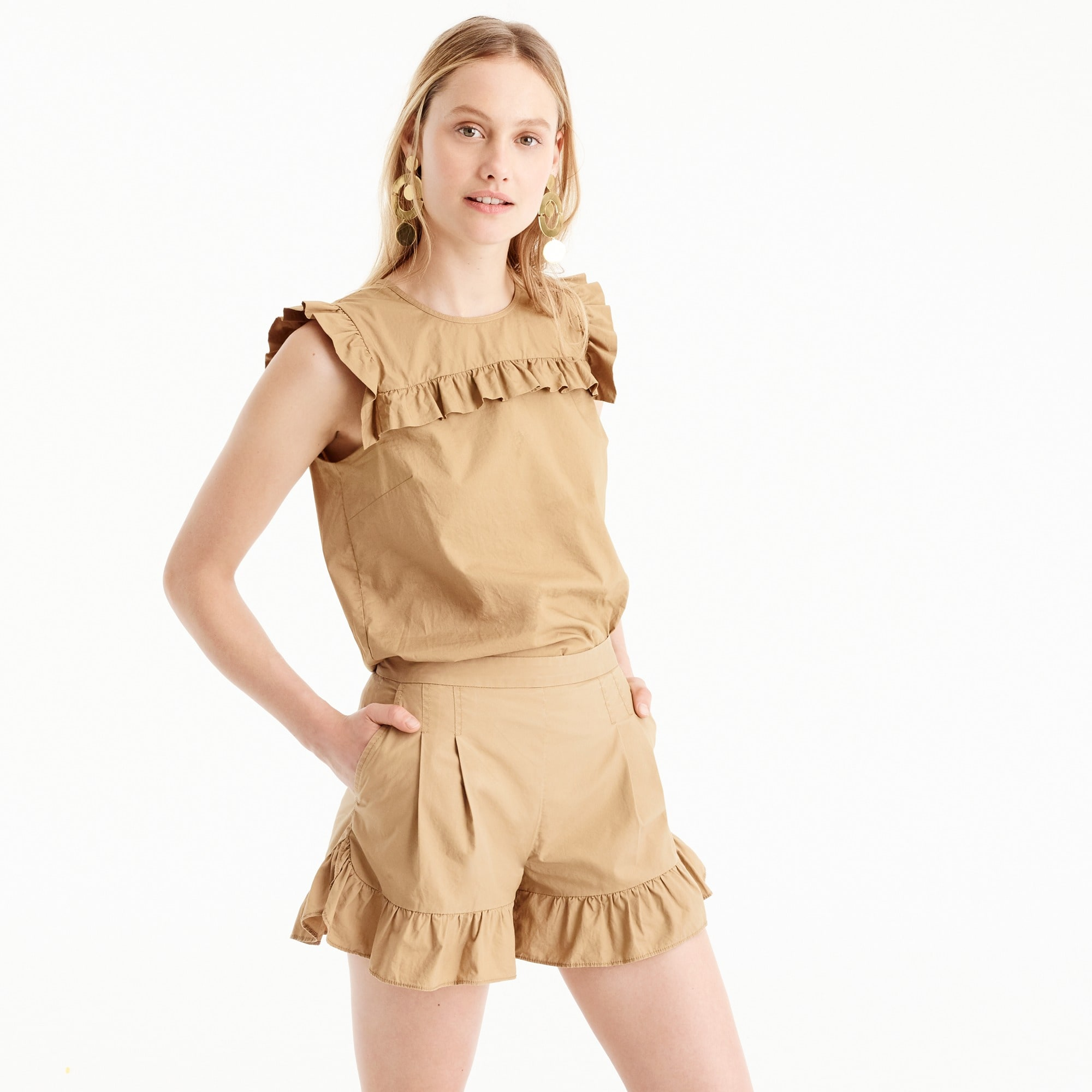 ruffle khaki short : women novelty