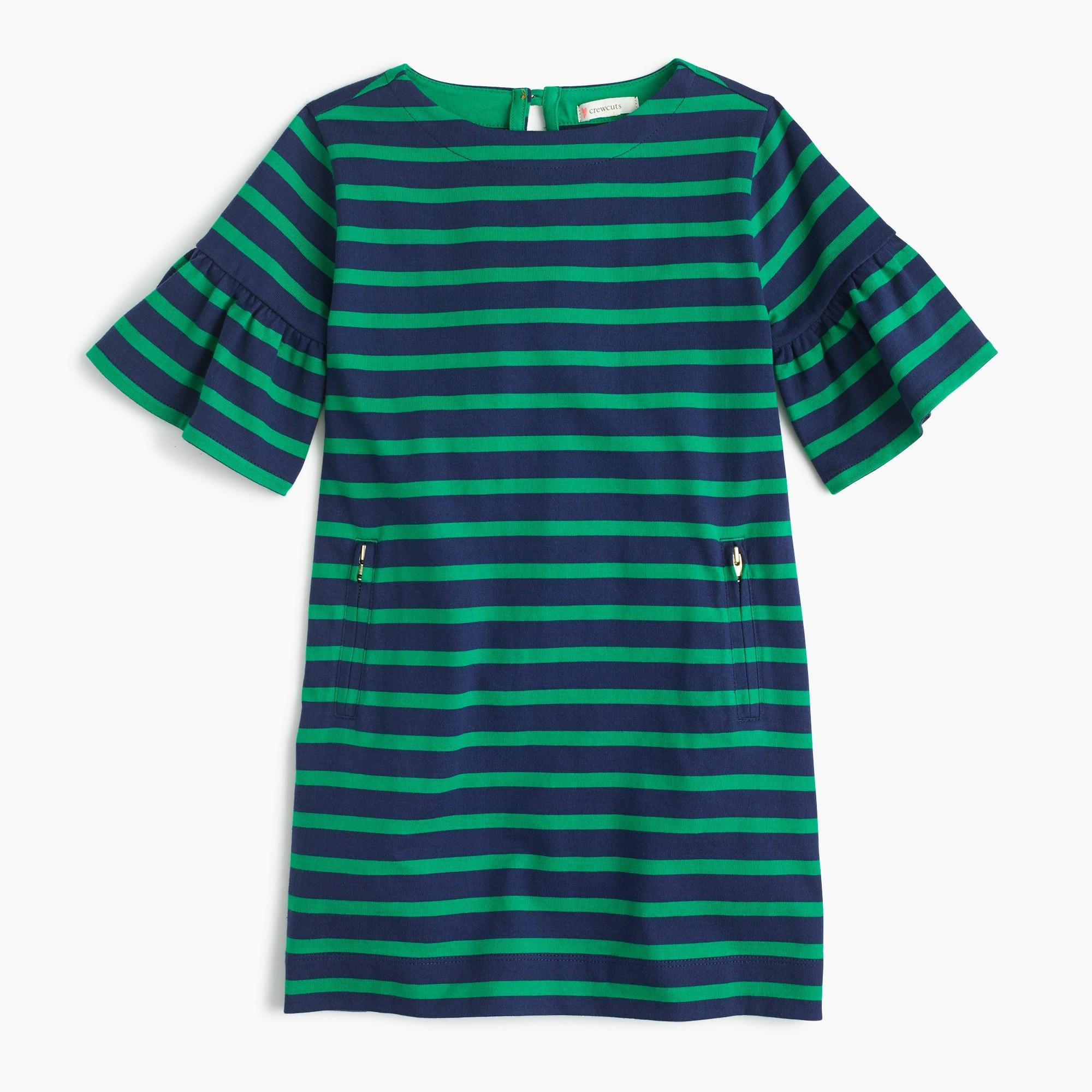Girls' striped knit dress