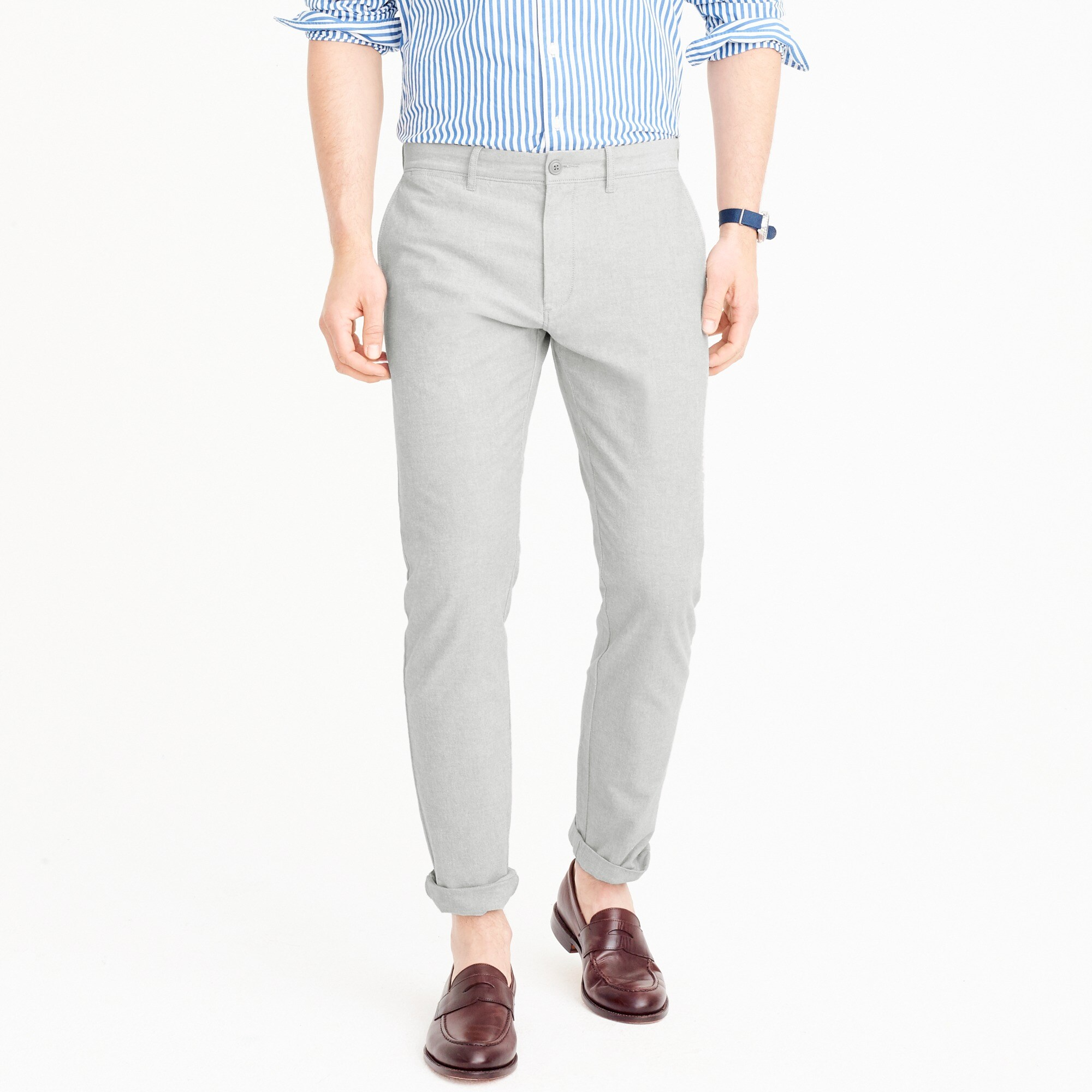 484 Slim-fit pant in stretch chambray men pants c