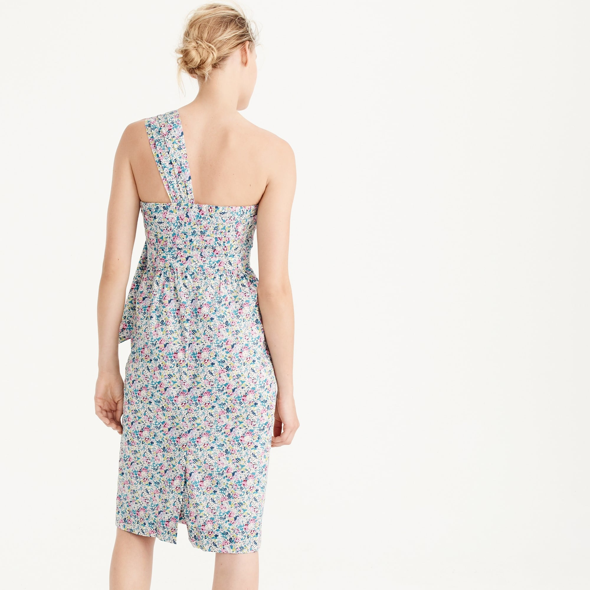 Petite one-shoulder tie dress in Liberty® Claire-Aude floral