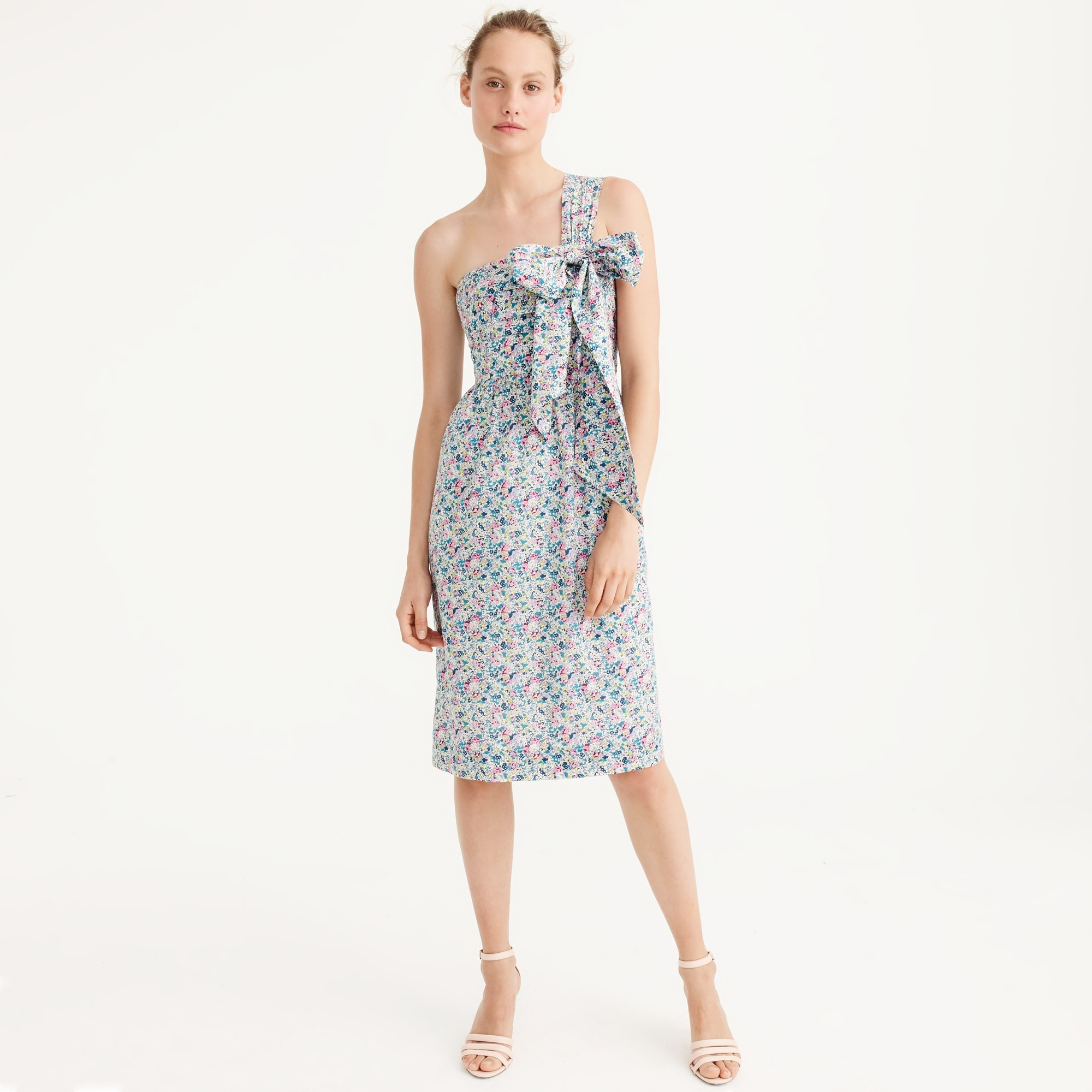 petite one-shoulder tie dress in liberty® claire-aude floral : women dresses