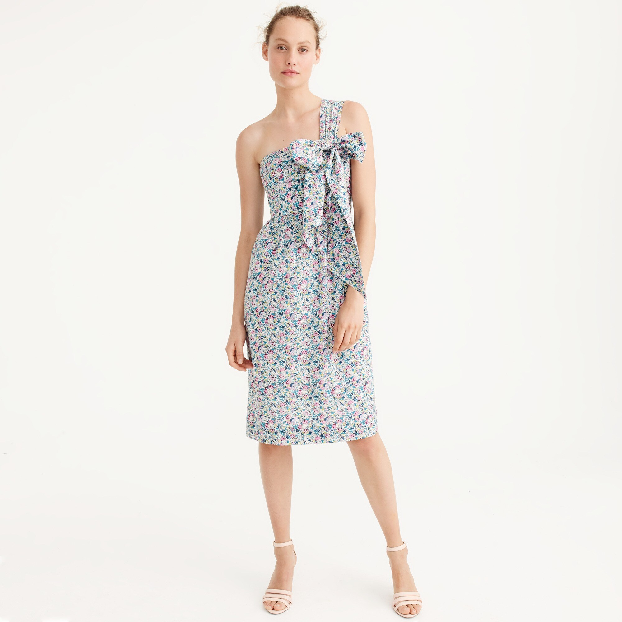 one-shoulder tie dress in liberty® claire-aude floral : women ready-to-party collection