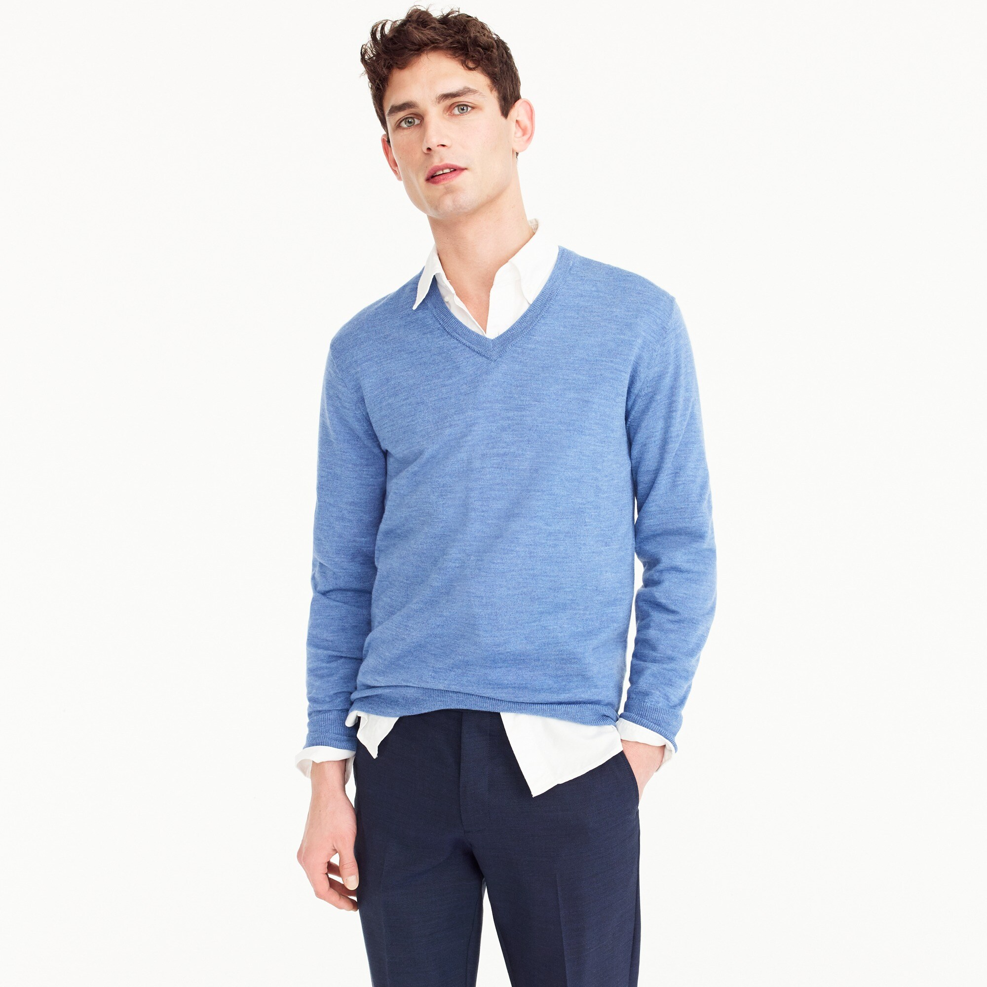 Image 1 for Tall Italian merino wool V-neck sweater