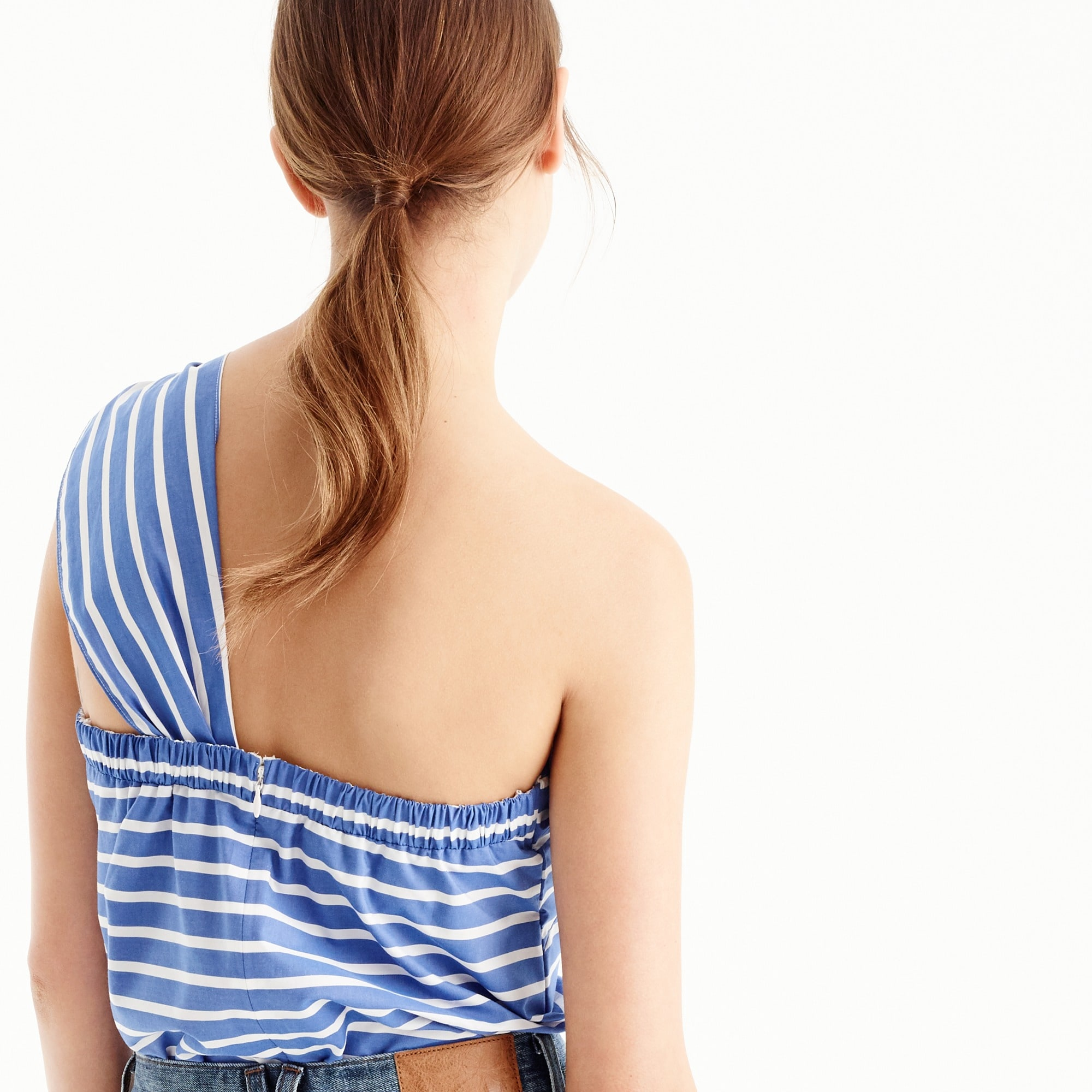 Image 3 for One-shoulder bow top in stripe
