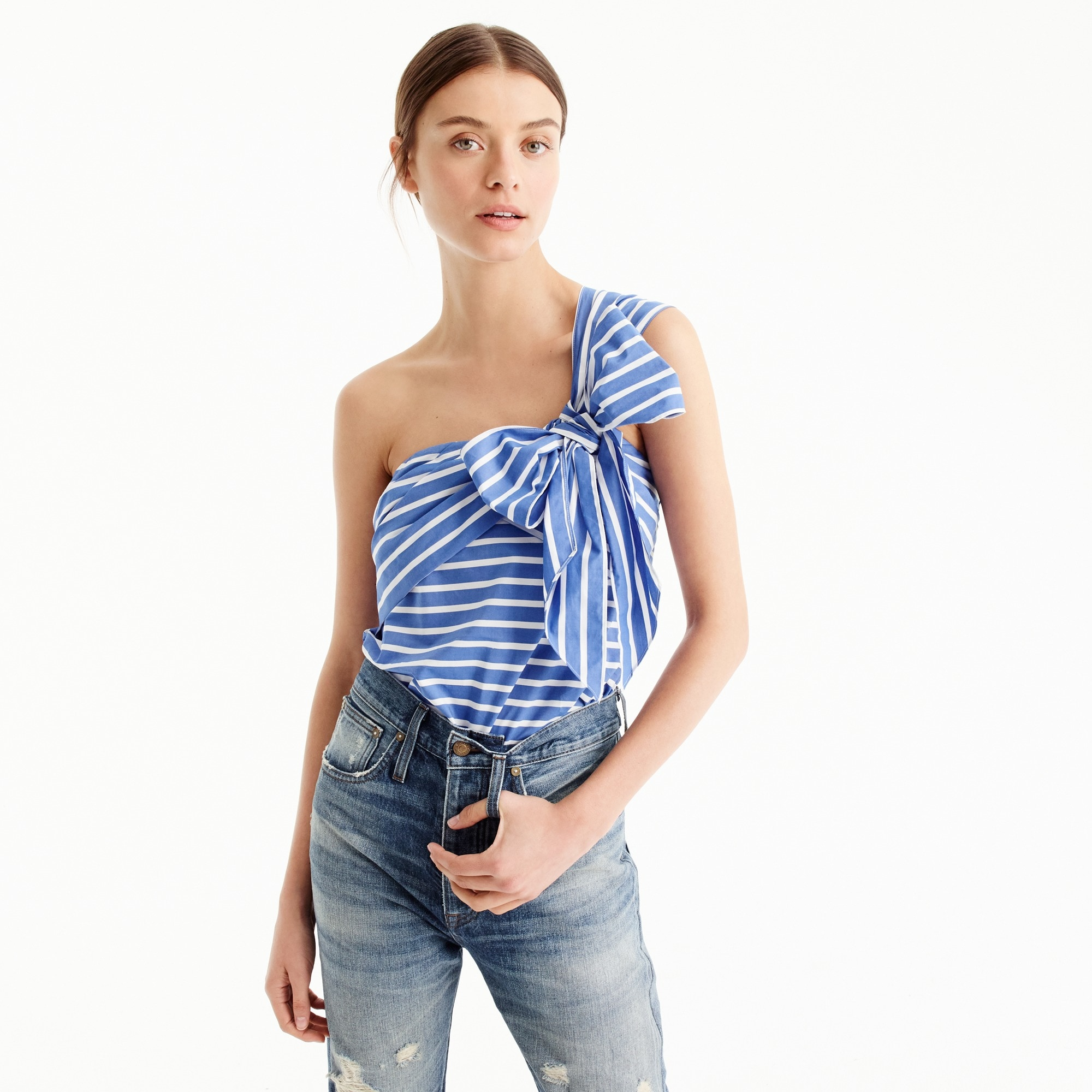 One-shoulder bow top in stripe