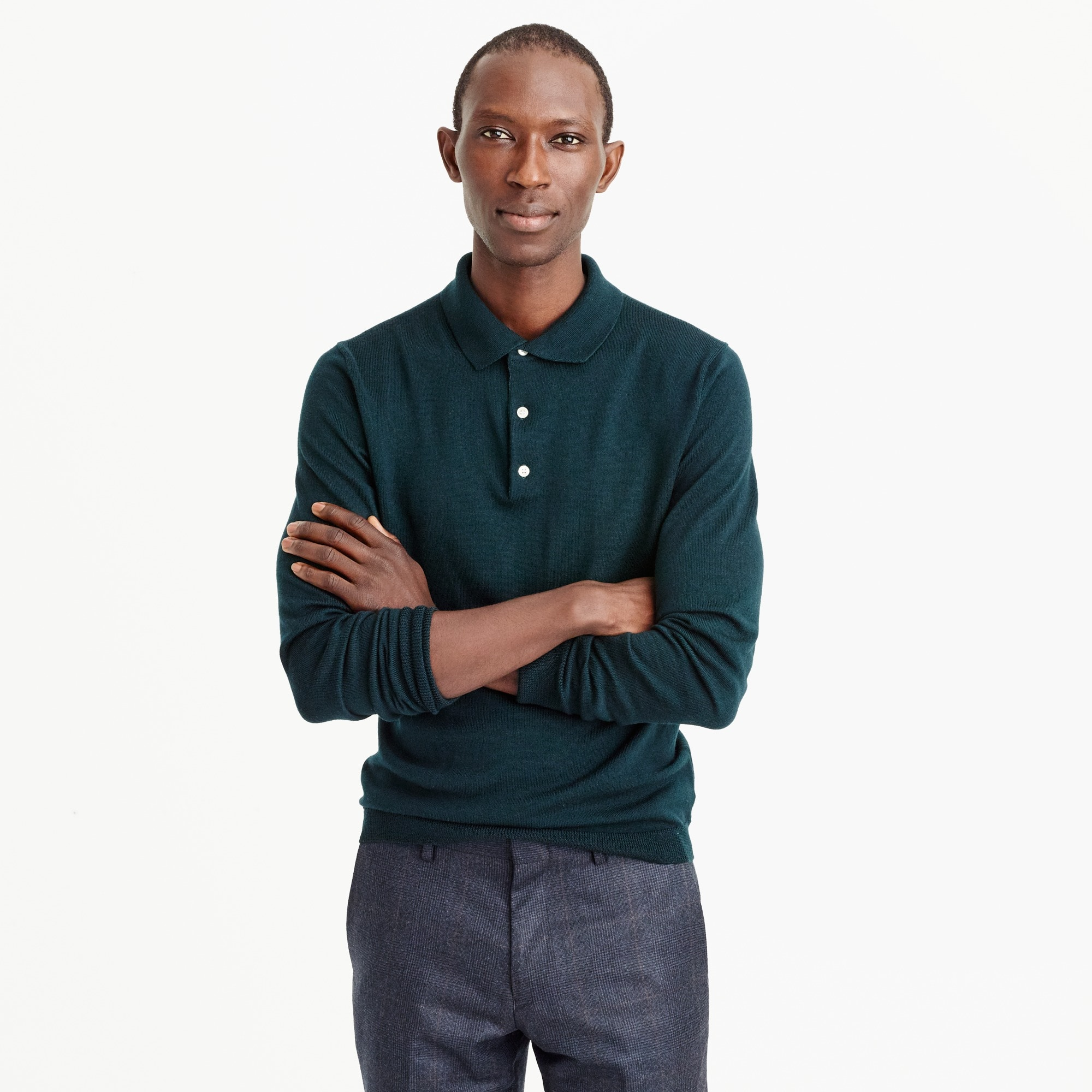Italian merino wool polo sweater