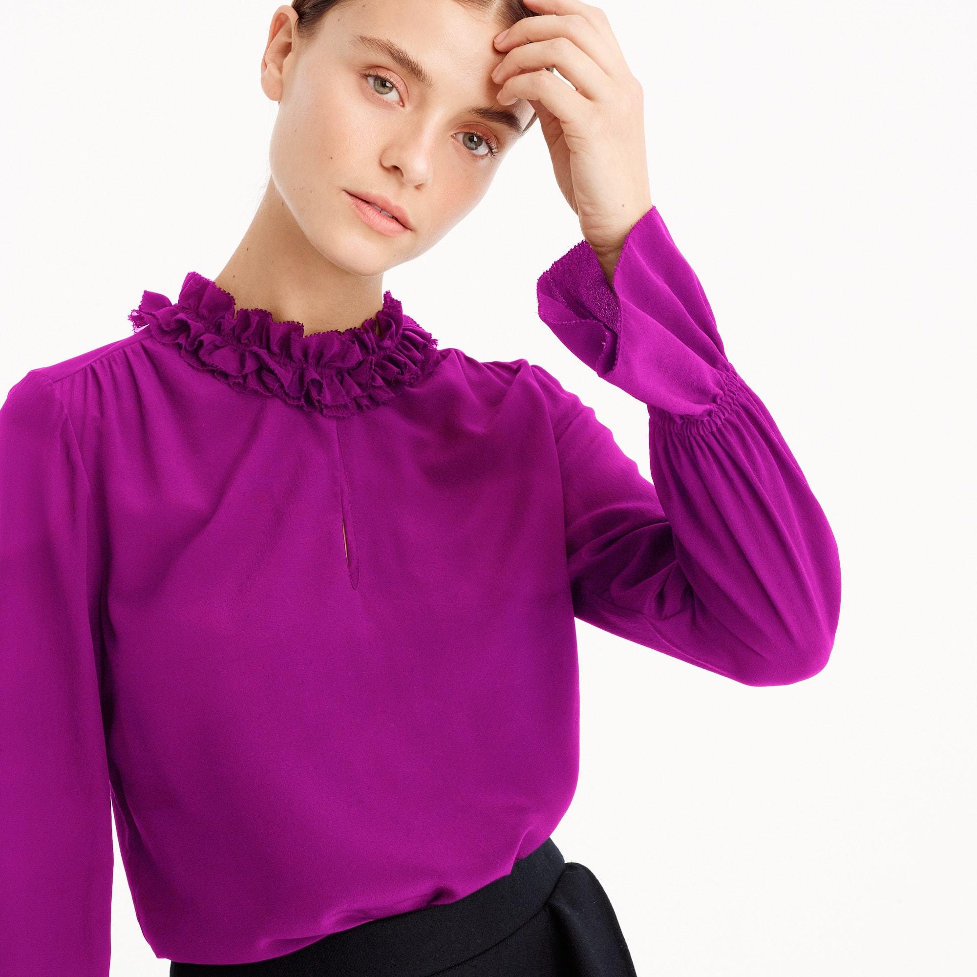 Petite Ruffle-neck silk top