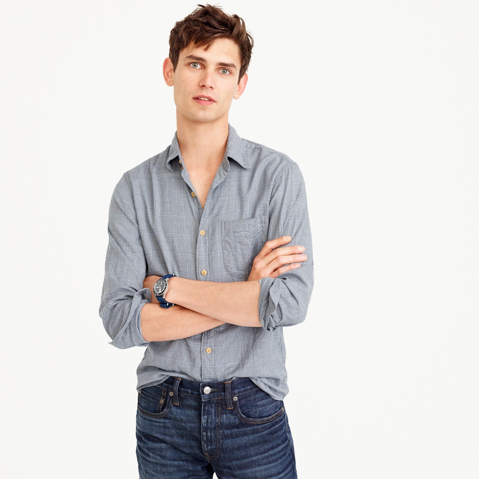 Image 1 for Slim brushed flannel shirt in tattersall