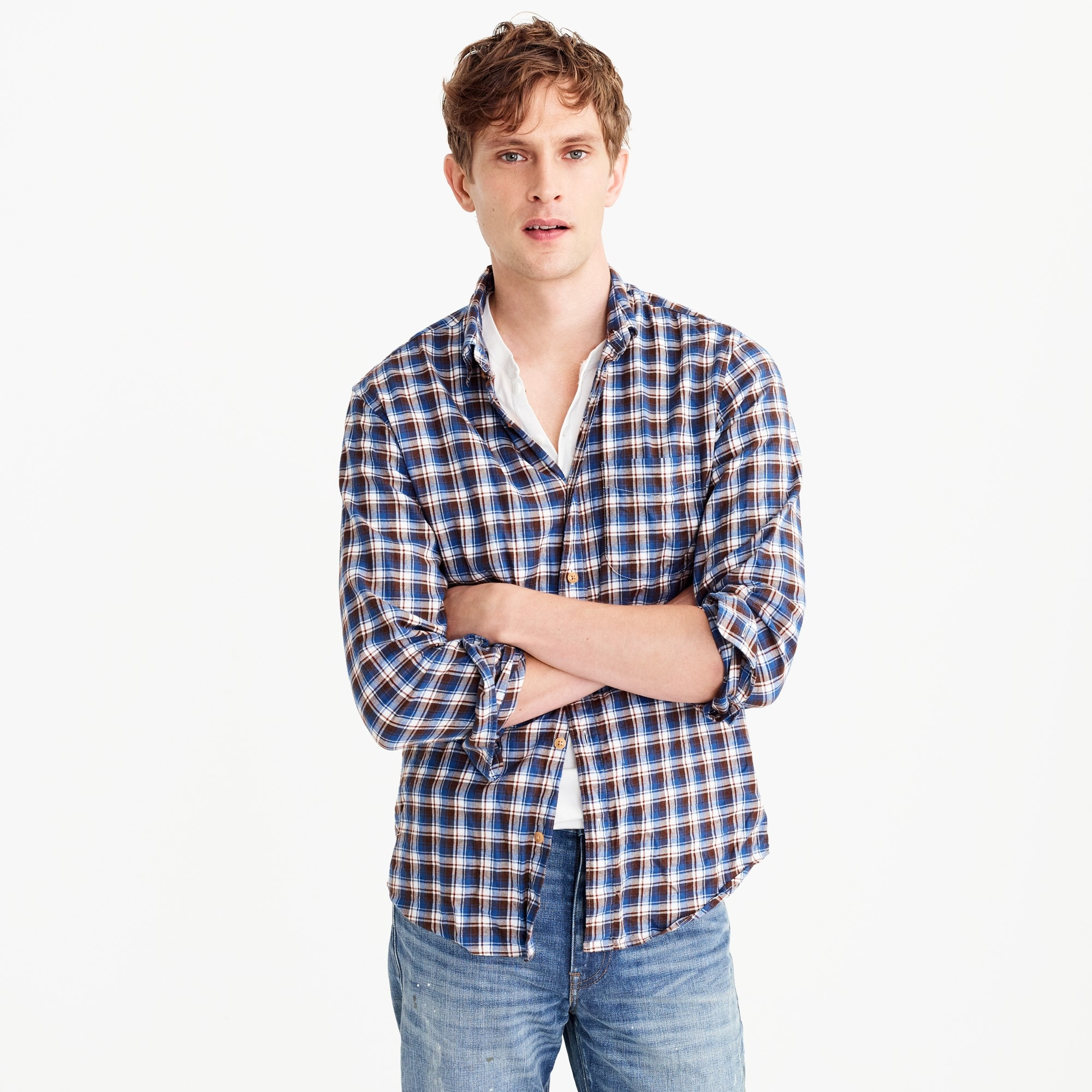 Slim brushed flannel shirt in multicolor plaid men casual shirts c