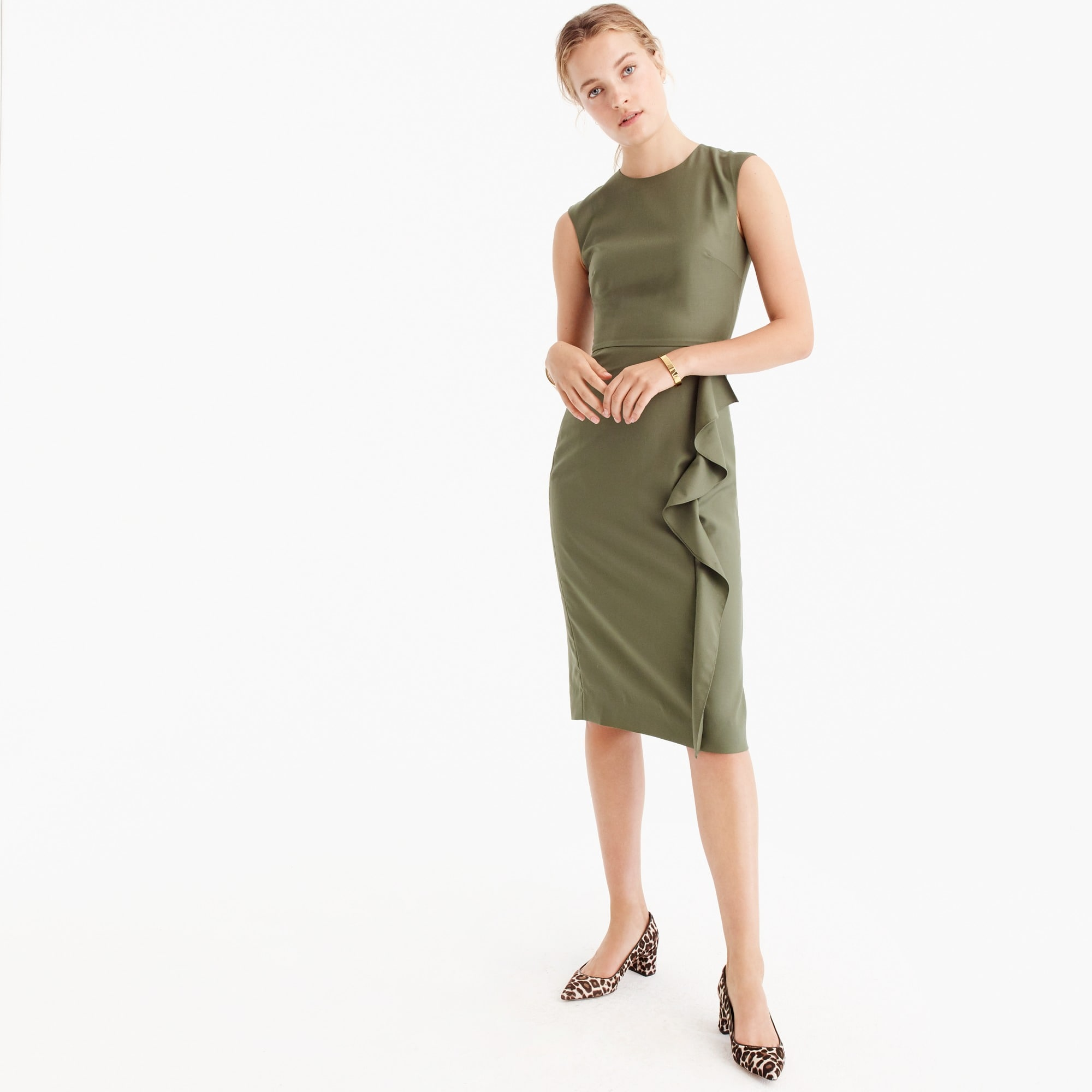 Ruffle sheath dress in Super 120s wool