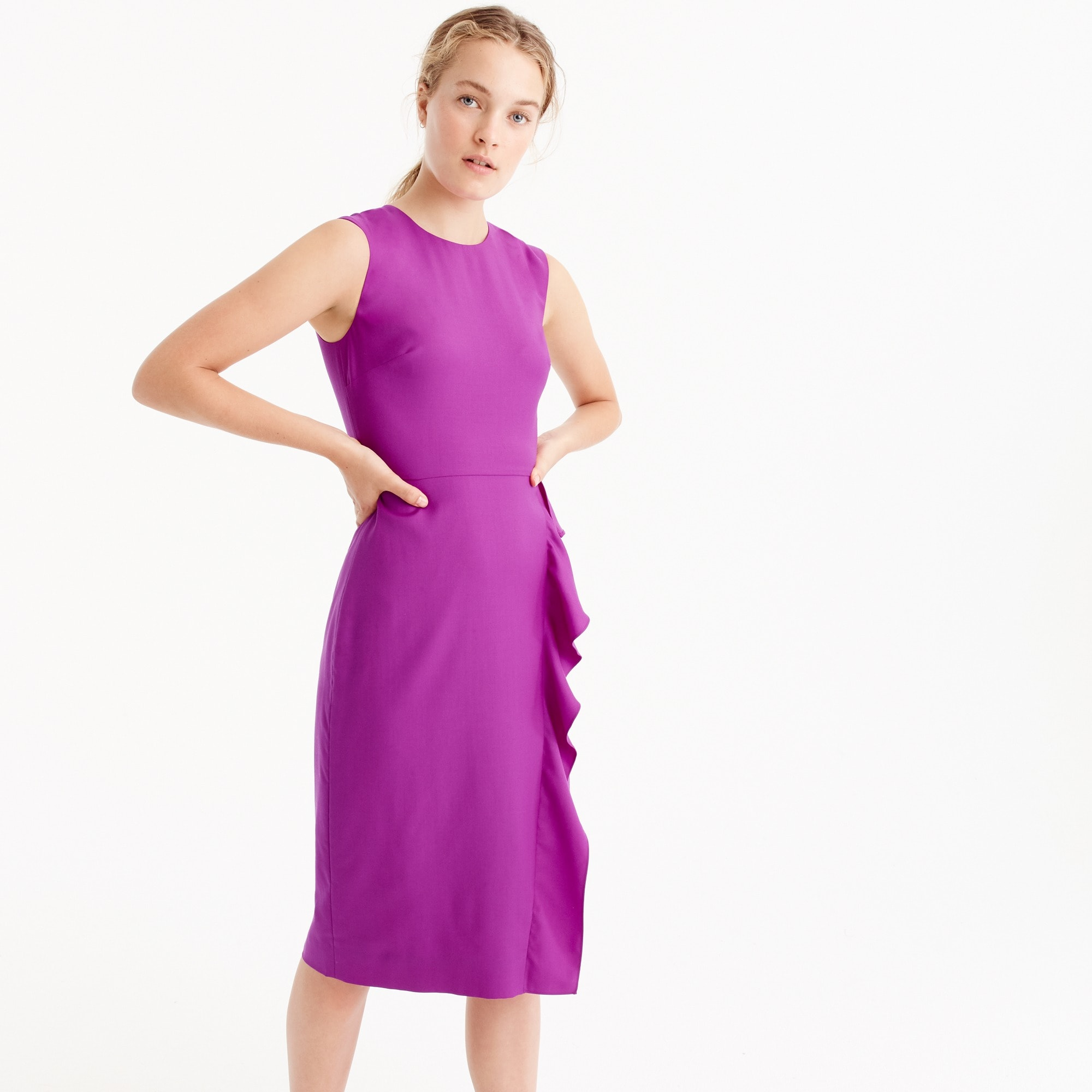 Ruffled sheath dress in Super 120s wool