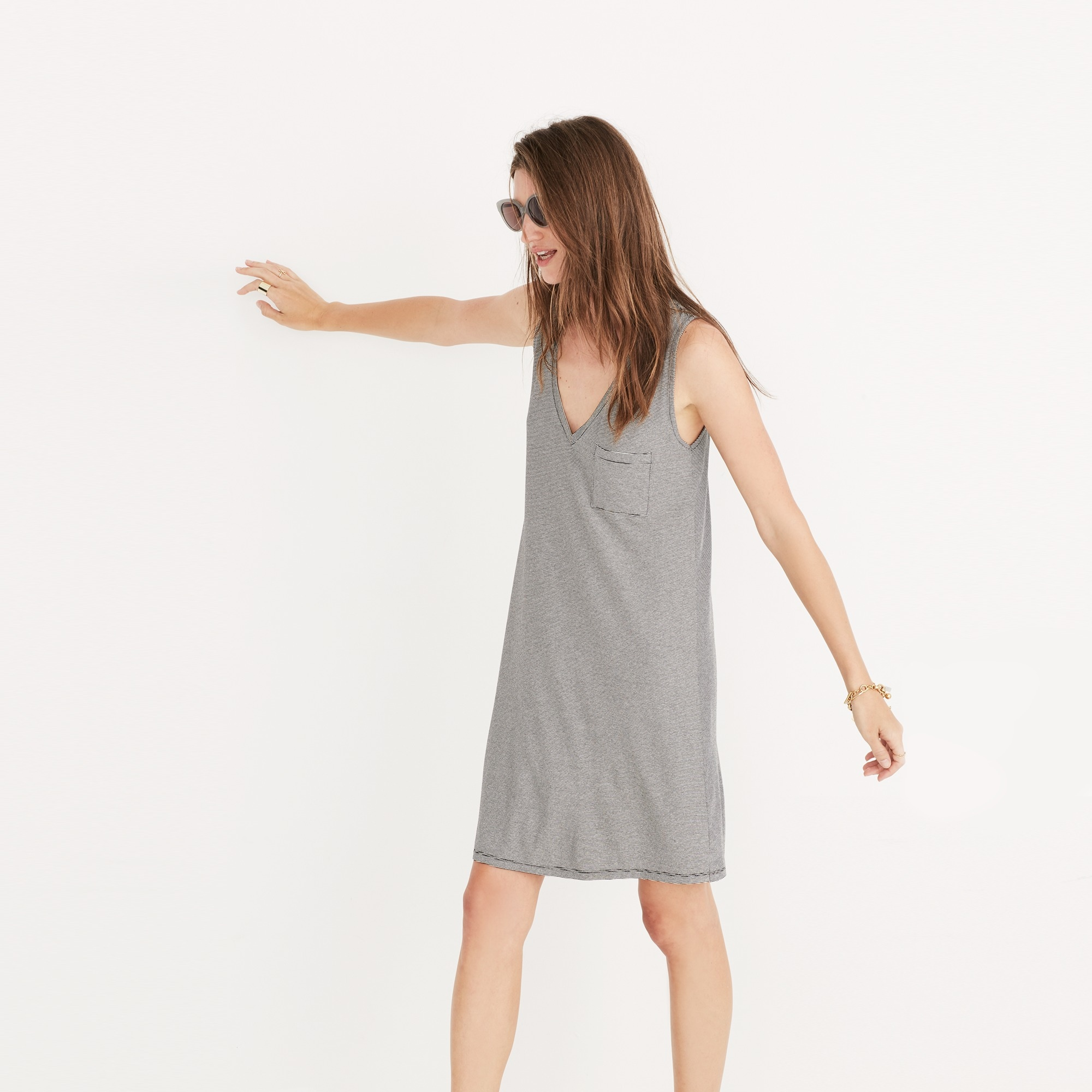 Madewell swingy tank dress in stripe women dresses c