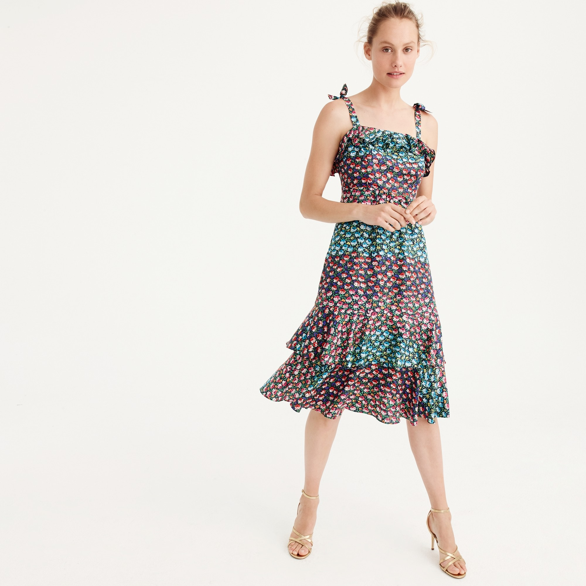 Petite Ruffle silk dress in Ratti® midnight floral