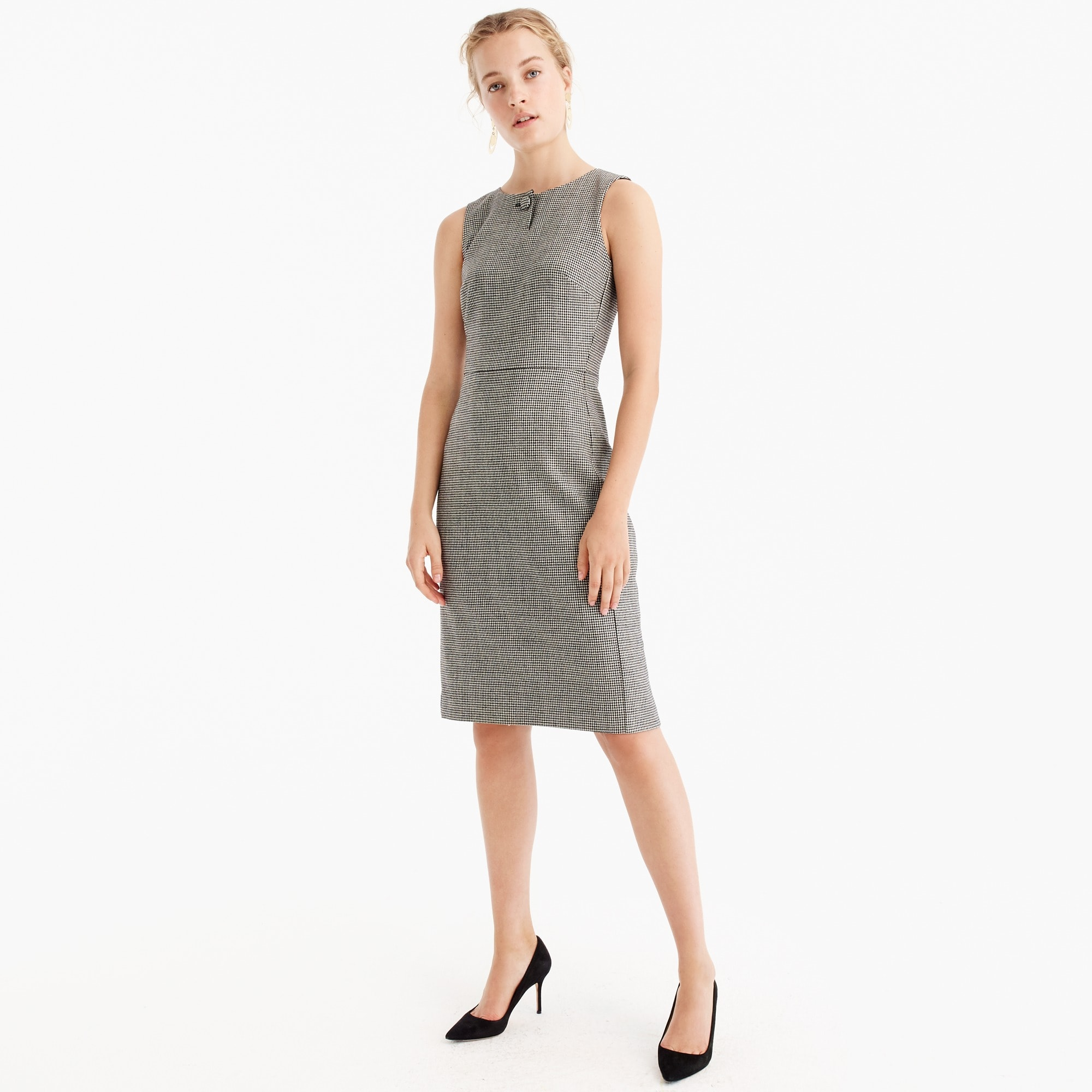 Petite houndstooth sheath dress