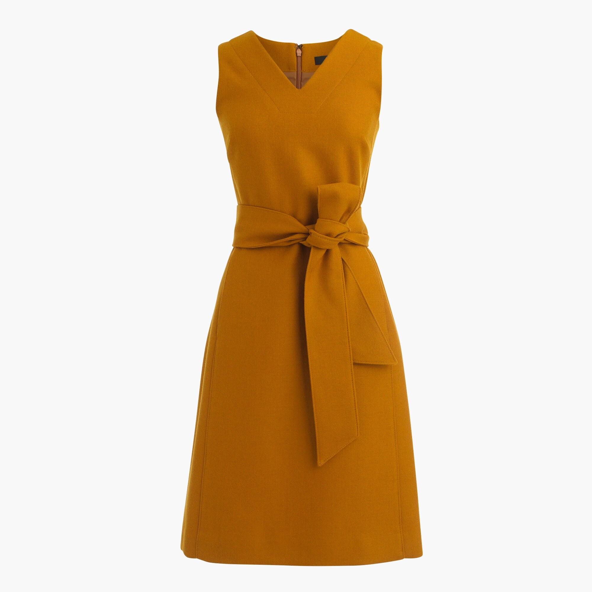 Petite V-neck sheath dress in double-serge wool