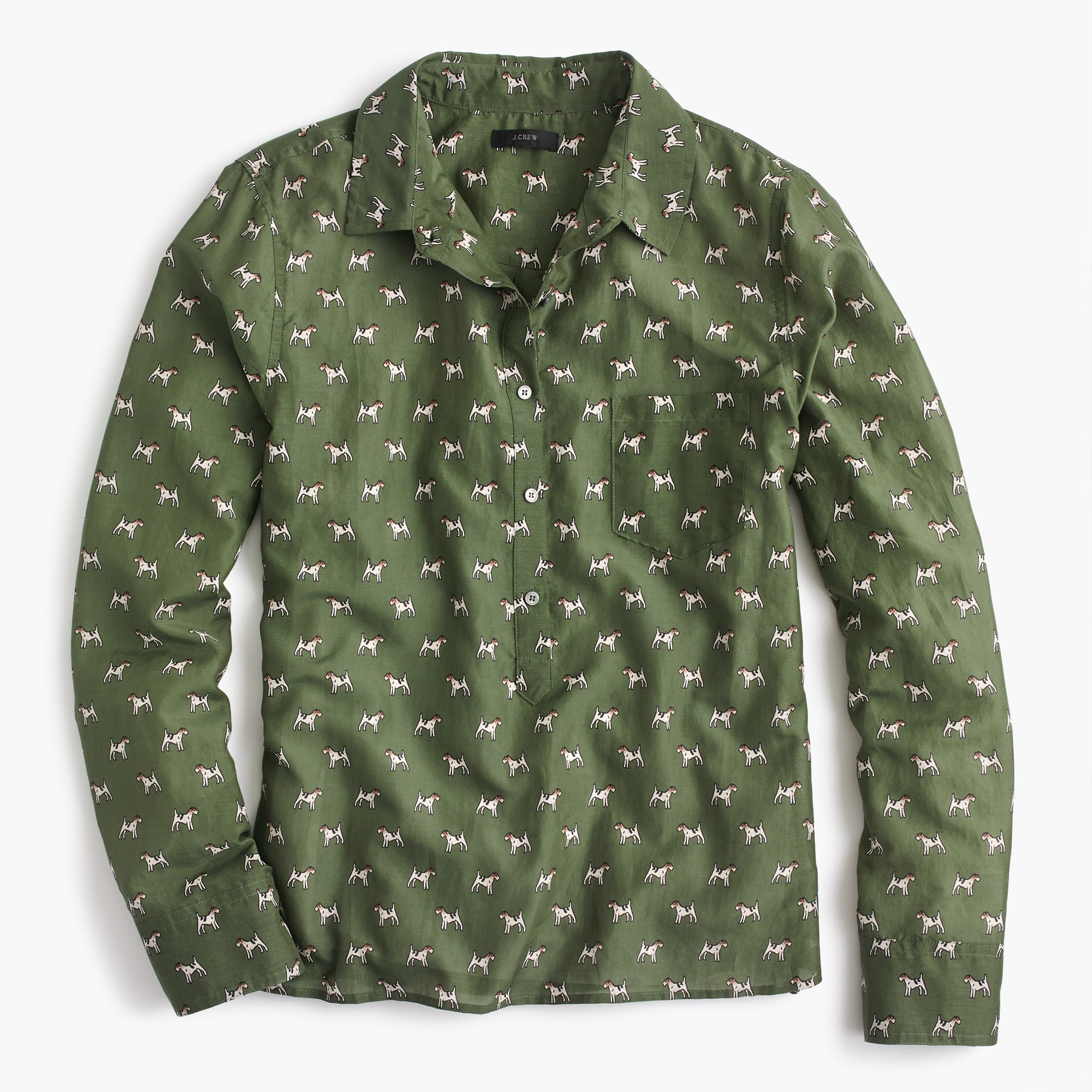 Petite popover shirt in Terrier print
